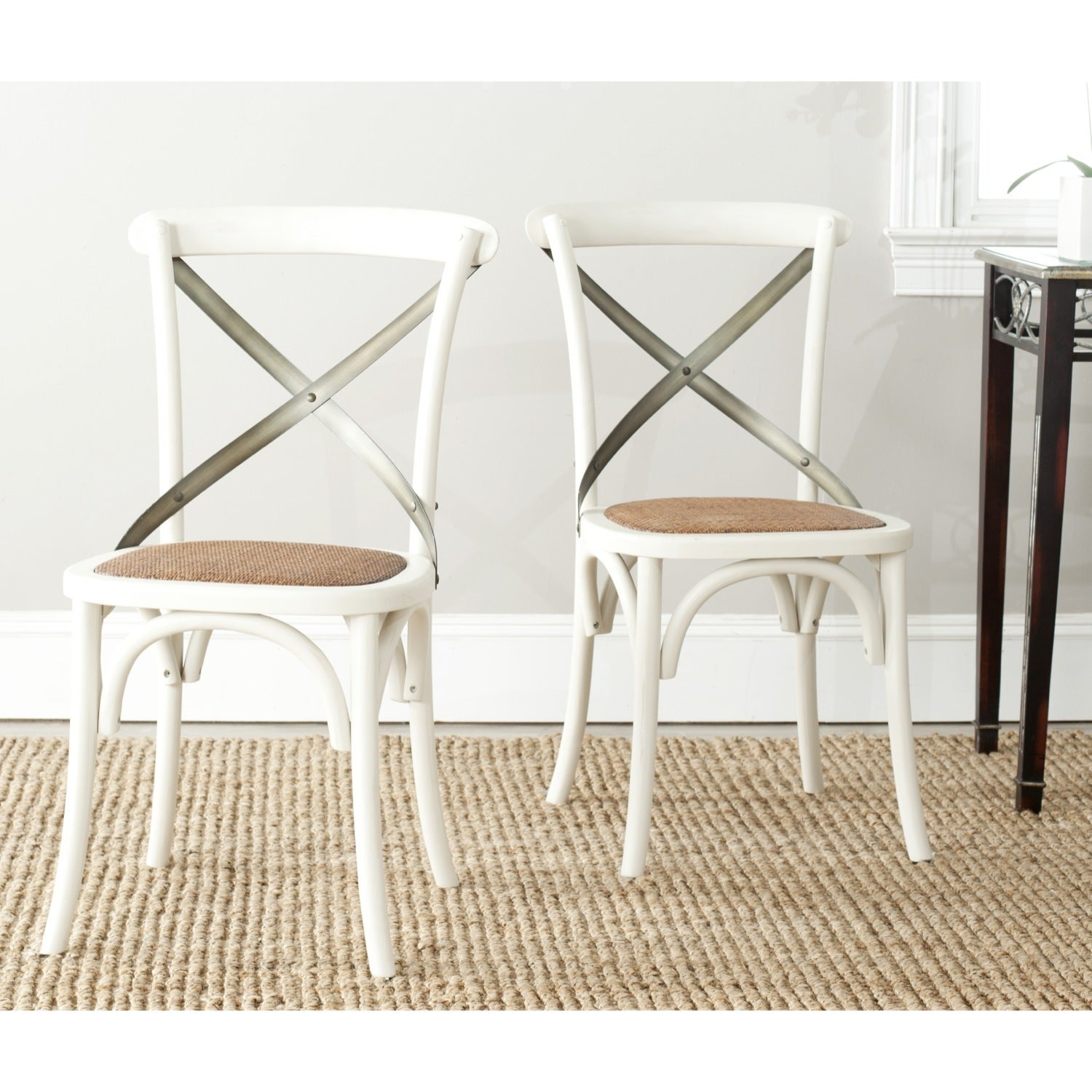 x back dining chairs Shop Safavieh Country Classic Dining Eleanor Antique White X Back  x back dining chairs