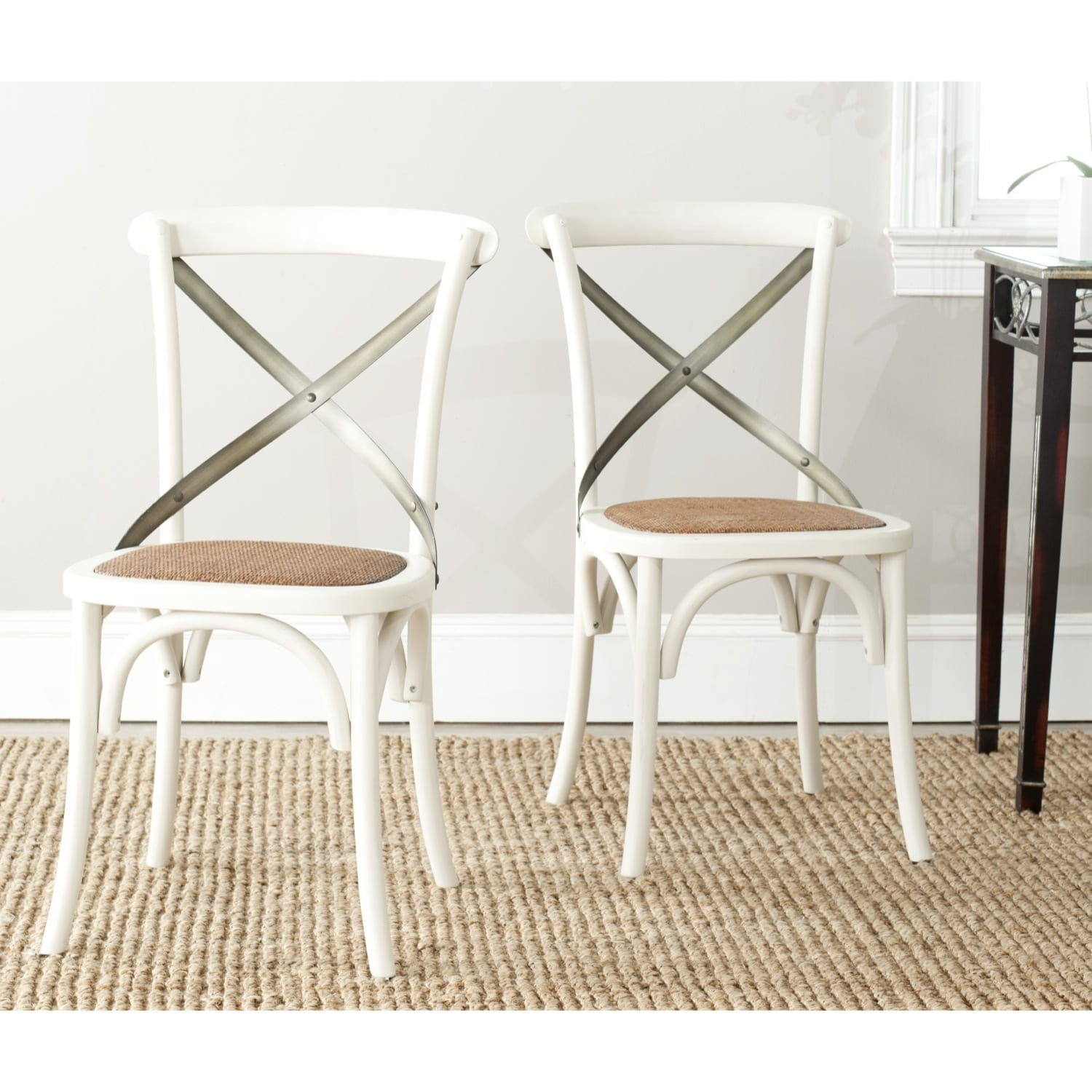 Safavieh Country Classic Dining Eleanor Antique White X-Back Dining Chairs  (Set of 2) - Free Shipping Today - Overstock.com - 15217069 - Safavieh Country Classic Dining Eleanor Antique White X-Back Dining