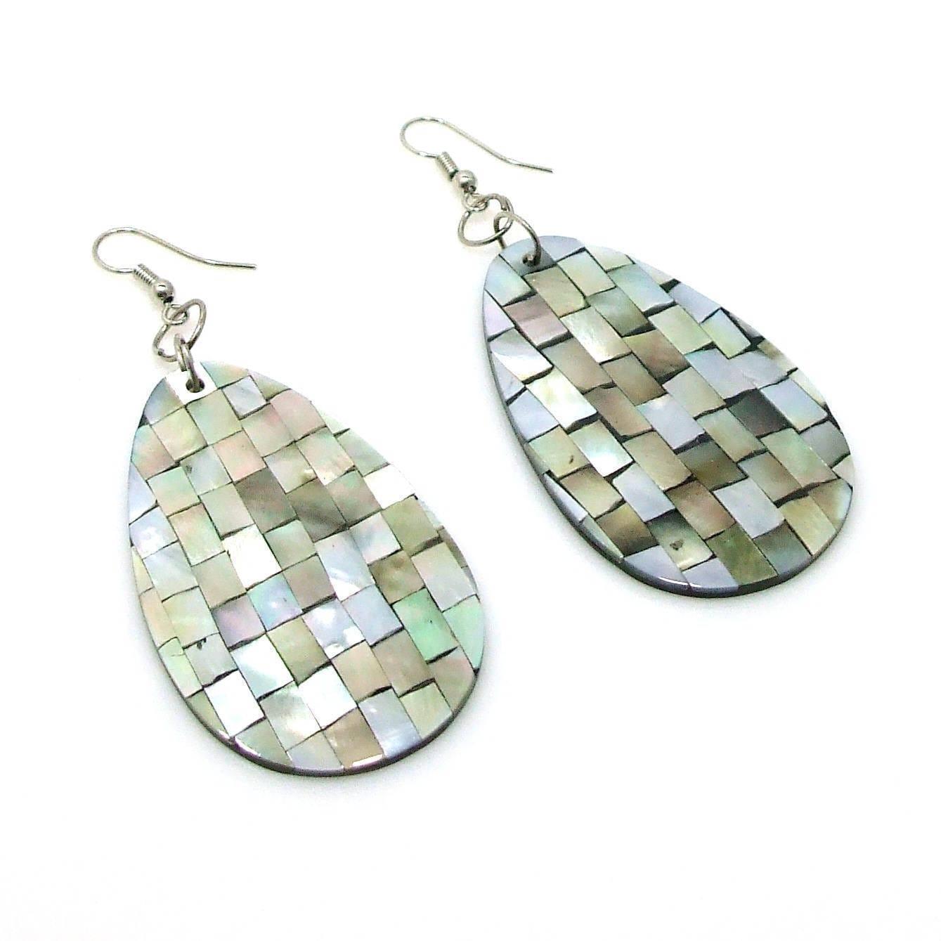 Mosaic Harmony Abalone Teardrop Handmade Earrings (Philippines ...