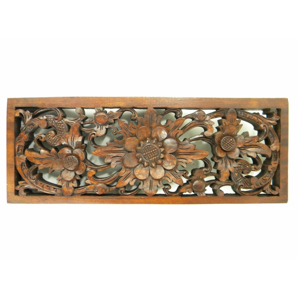 Shop flower and leaf hand carved relief panel free shipping today