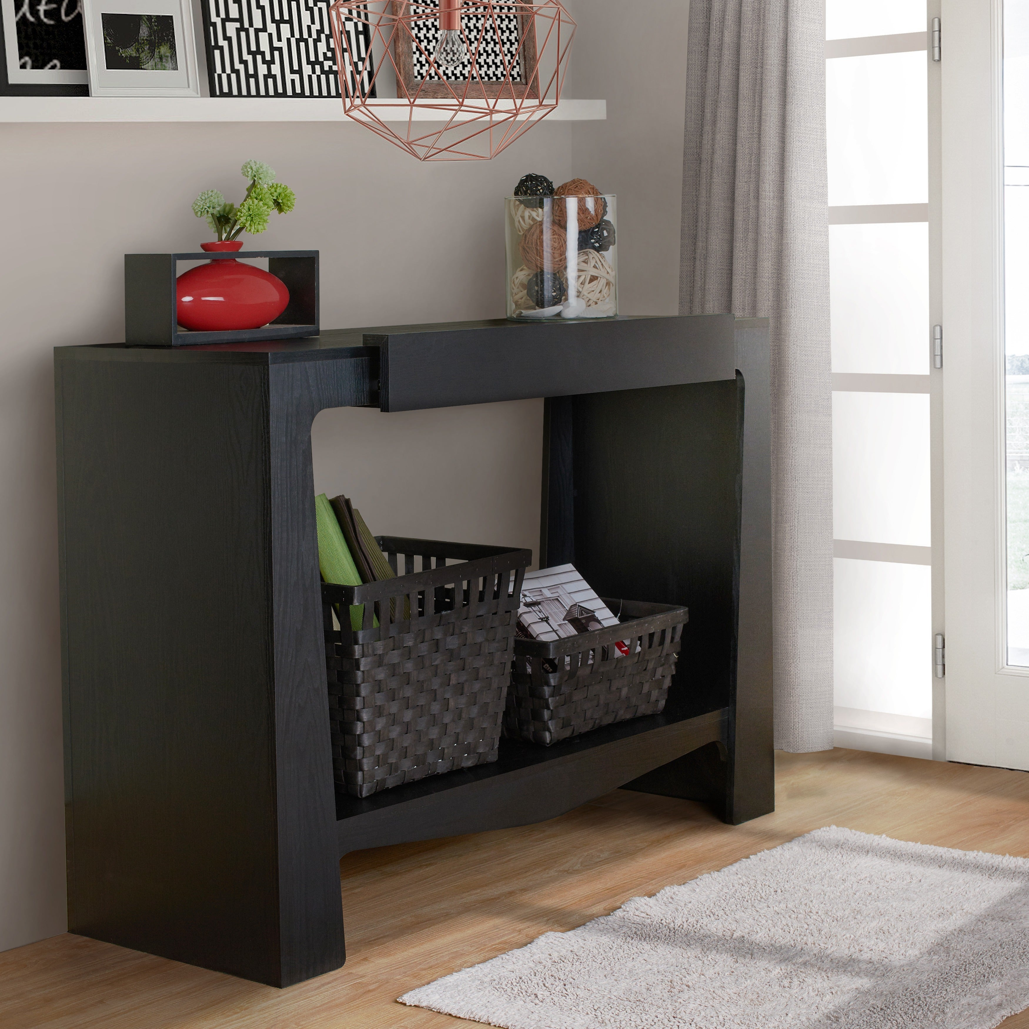 Shop furniture of america urbana modern hall entry way black console table on sale free shipping today overstock com 7847822