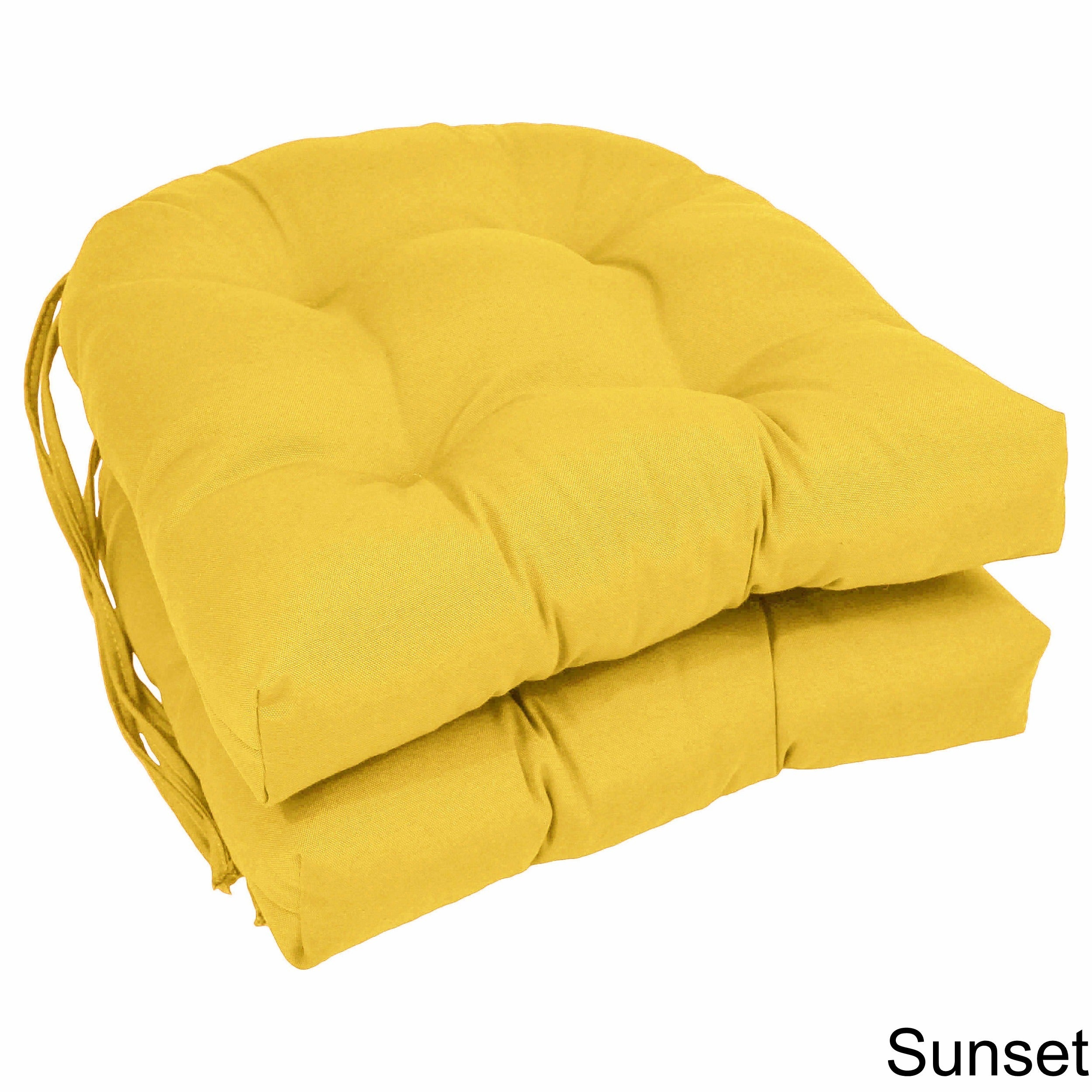 Blazing Needles Twill 16 Inch U Shaped Tufted Dining Chair Cushions Set Of 2 On Free Shipping Orders Over 45 7856944