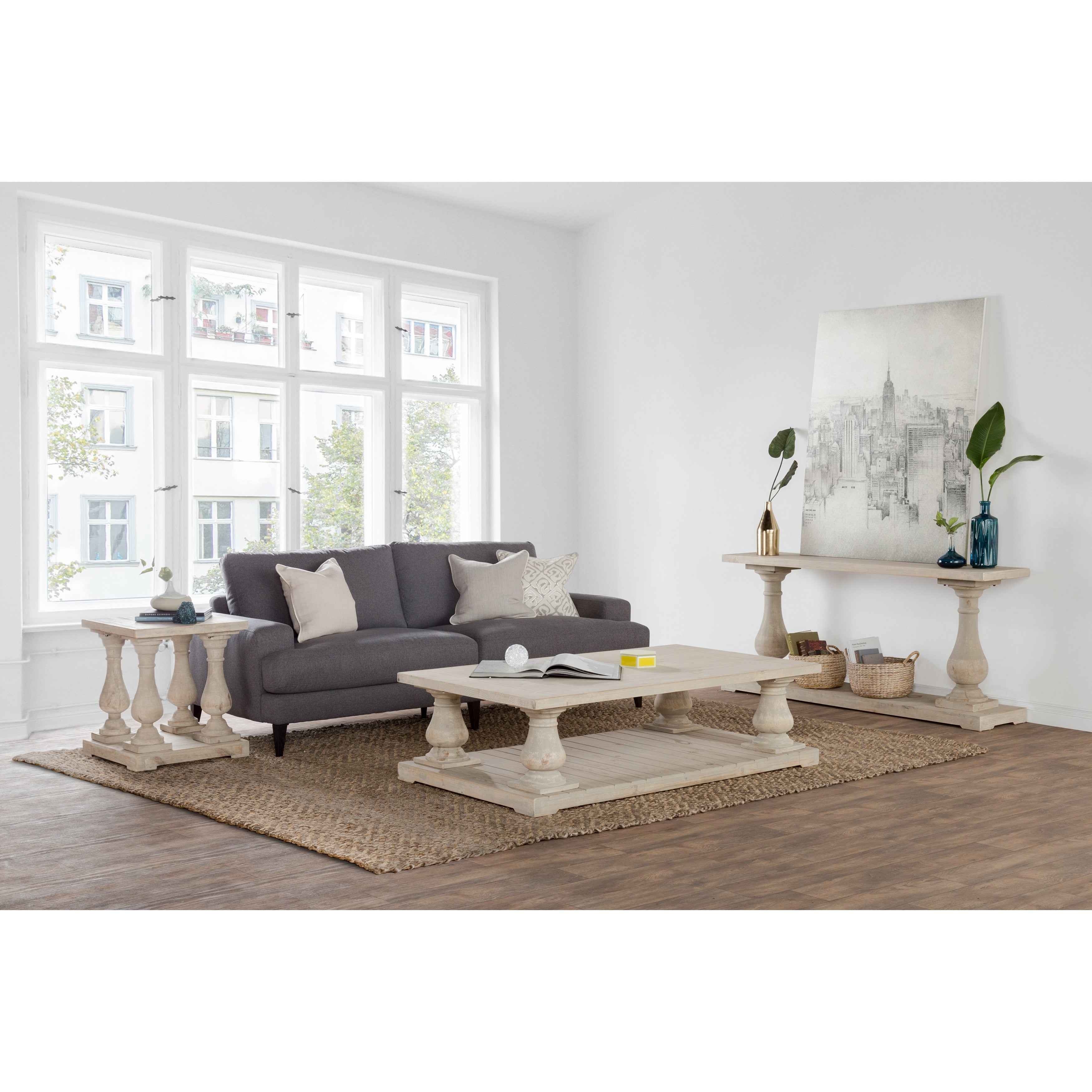 Shop Wilson Antique White Reclaimed Pine Square Side Table by Kosas ...