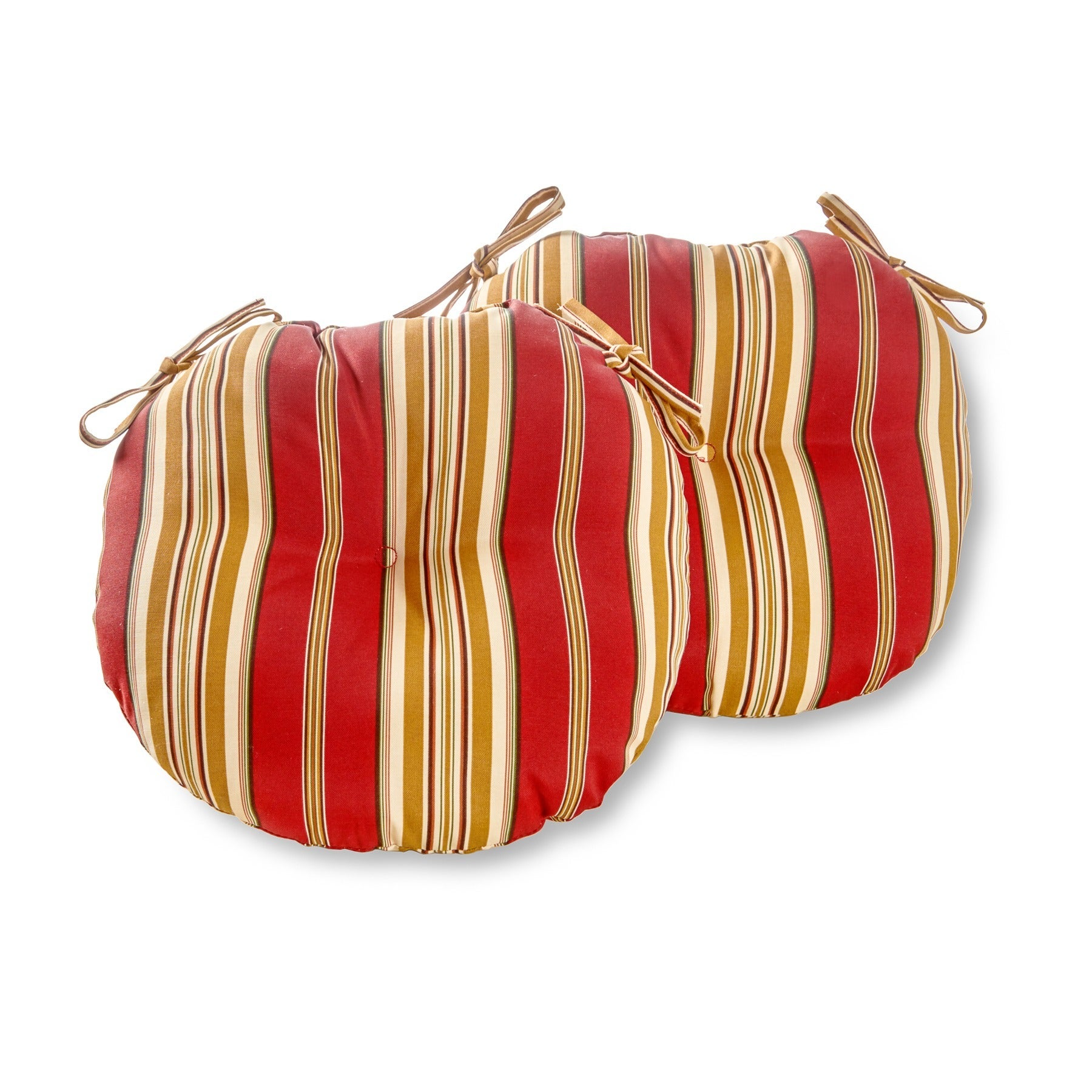15 inch Round Outdoor Roma Stripe Bistro Chair Cushions Set of 2