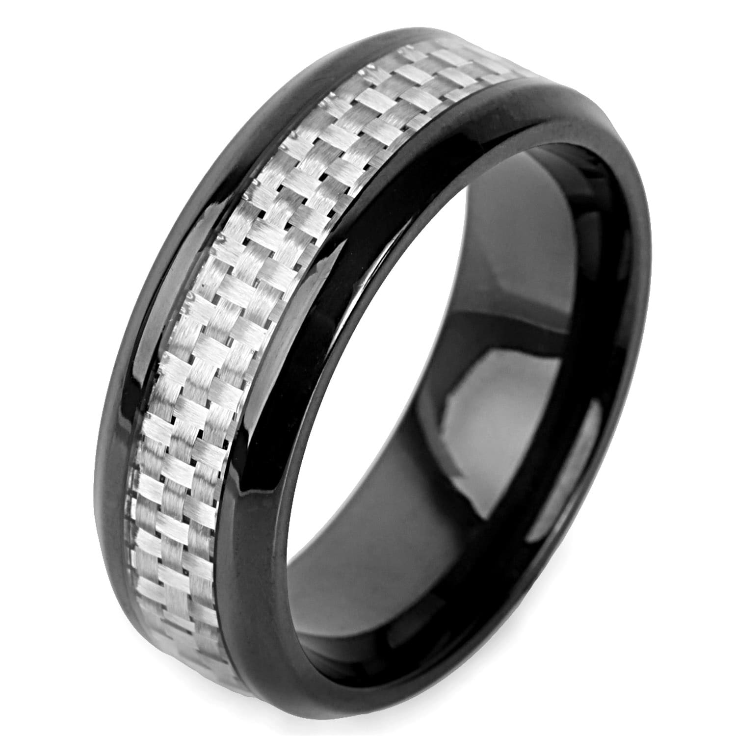 fiber wedding band rings inlay mens blue ring itm carbon tungsten size diamond