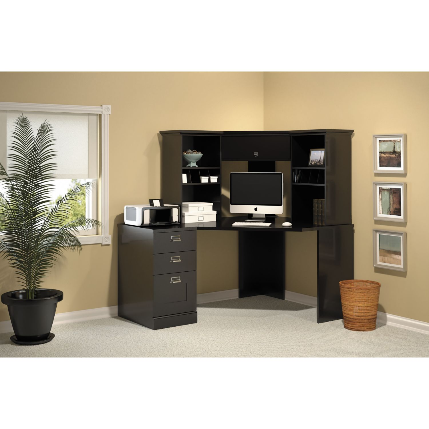 Stockport Corner Desk with Hutch and 3 Drawer File Cabinet in Black - Free  Shipping Today - Overstock.com - 15250939
