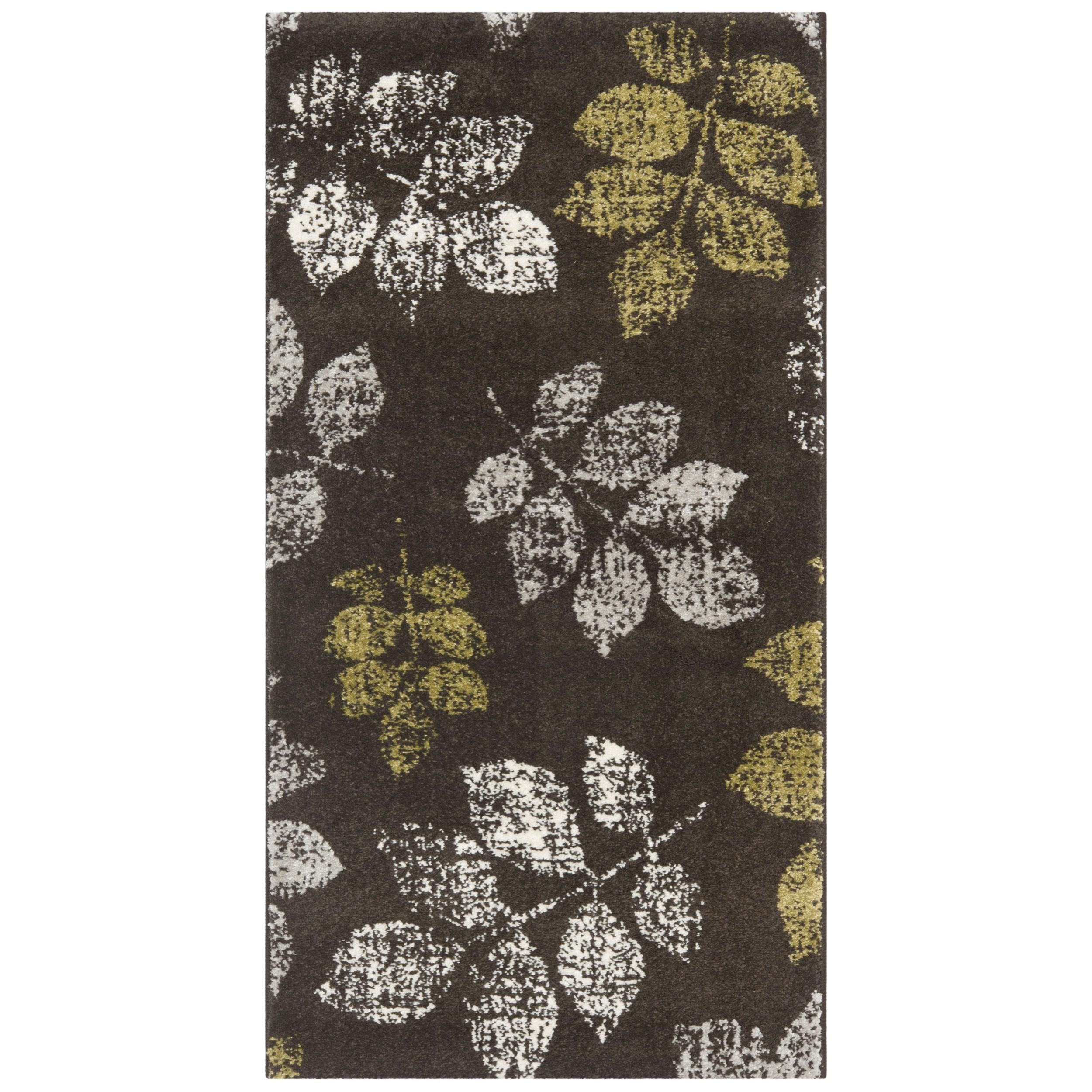 Safavieh Porcello Leaf Print Distressed Brown Green Rug 2 X 3 7
