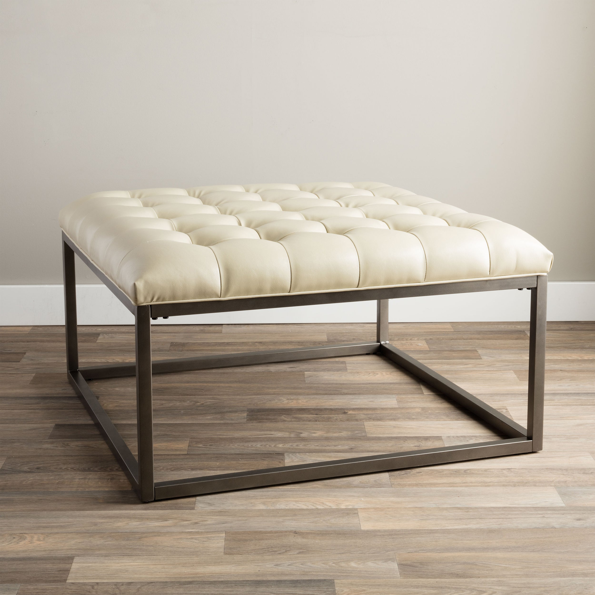 Shop Jasper Laine Healy Cream Leather Tufted Ottoman   Free Shipping Today    Overstock.com   7869951