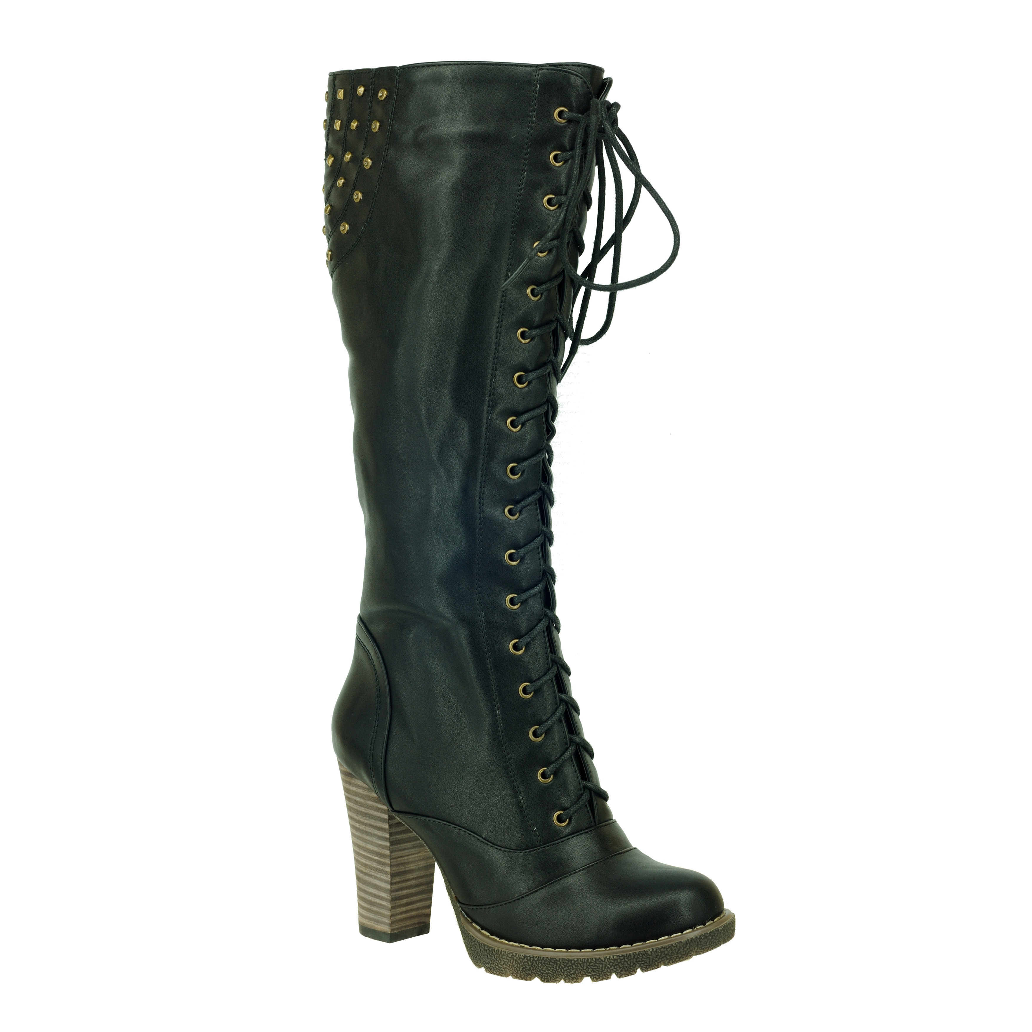 74bb0b890a7b9 Shop DimeCity Women s  Darla  Lace-up Riding Boots - Free Shipping Today -  Overstock - 7869980
