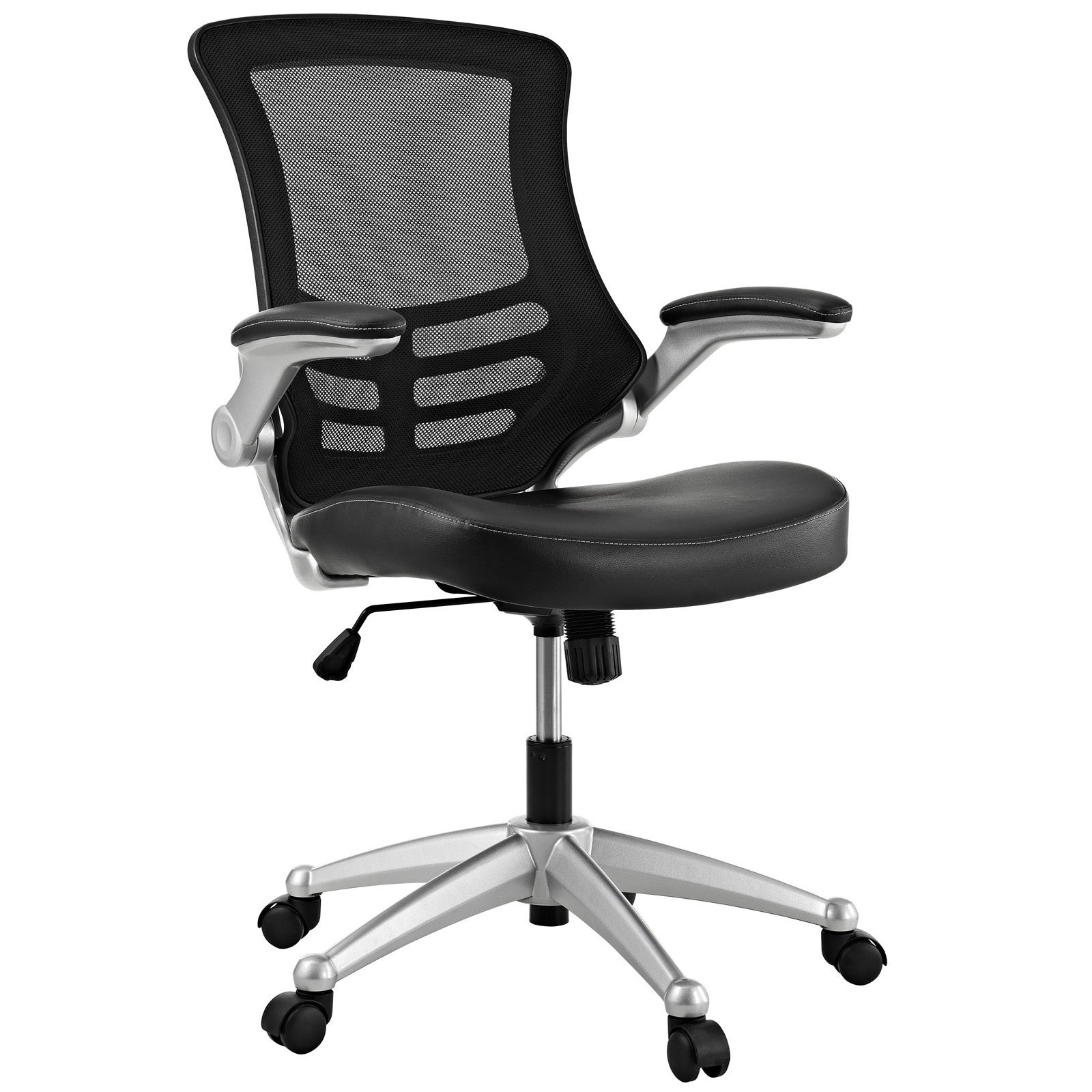Modway Attainment Black Mesh Back and Leatherette Seat fice