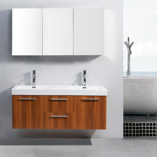 Shop Virtu Usa Midori 54 Inch Polymarble Double Sink Bathroom Vanity
