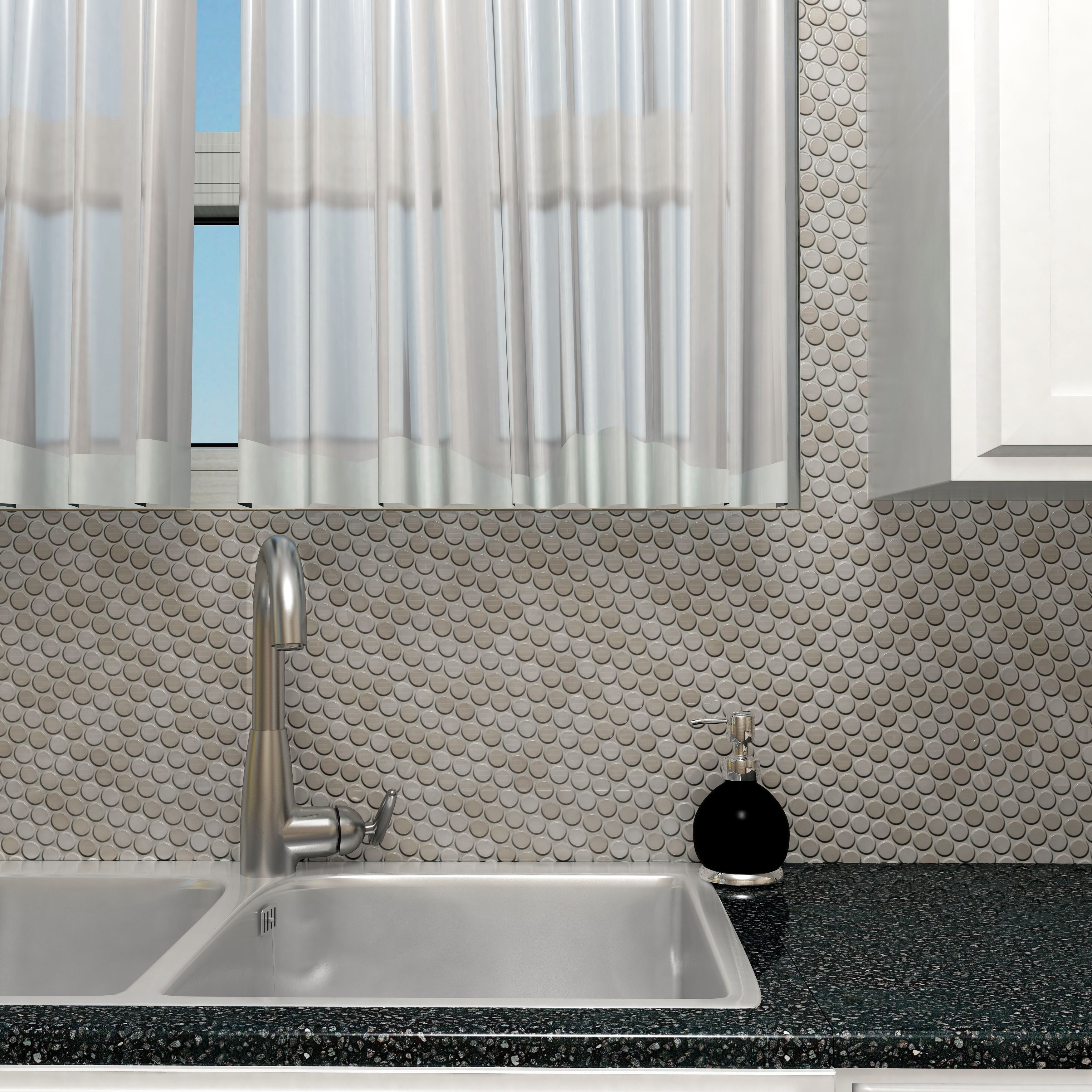 SomerTile 11.75 x 11.75-inch Penny Stainless Steel Over Porcelain Mosaic  Wall Tile (Case of 10) - Free Shipping Today - Overstock.com - 15257151