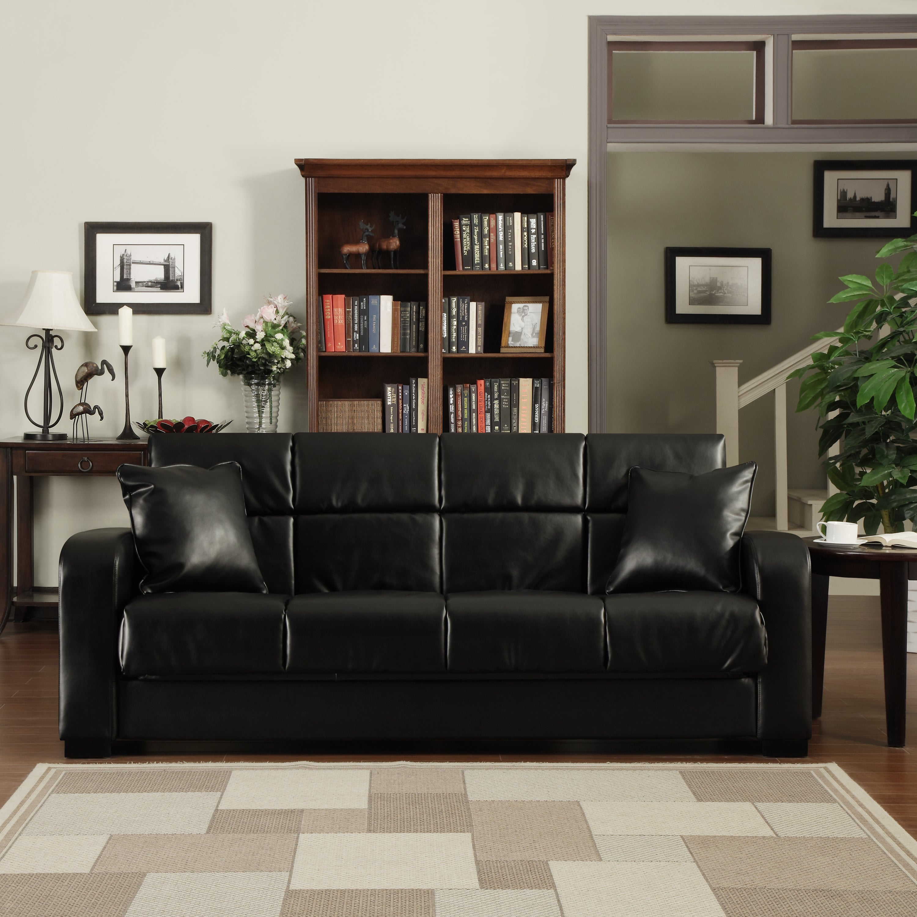 Handy Living Turco Convert A Couch Black Renu Leather Futon Sofa Sleeper On Ships To Canada 7873551