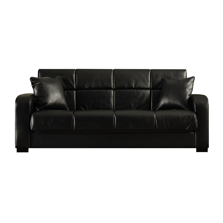 Handy Living Turco Convert A Couch Black Renu Leather Futon Sofa Sleeper Free Shipping Today Com 15257173
