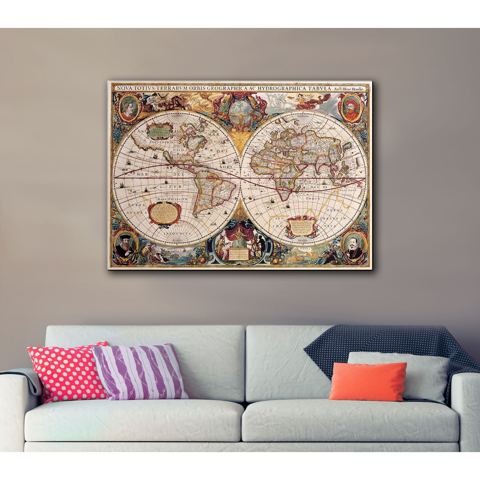 Henricus hondius a new and accurate map of the world gallery henricus hondius a new and accurate map of the world gallery wrapped canvas multi free shipping today overstock 15257449 gumiabroncs Image collections