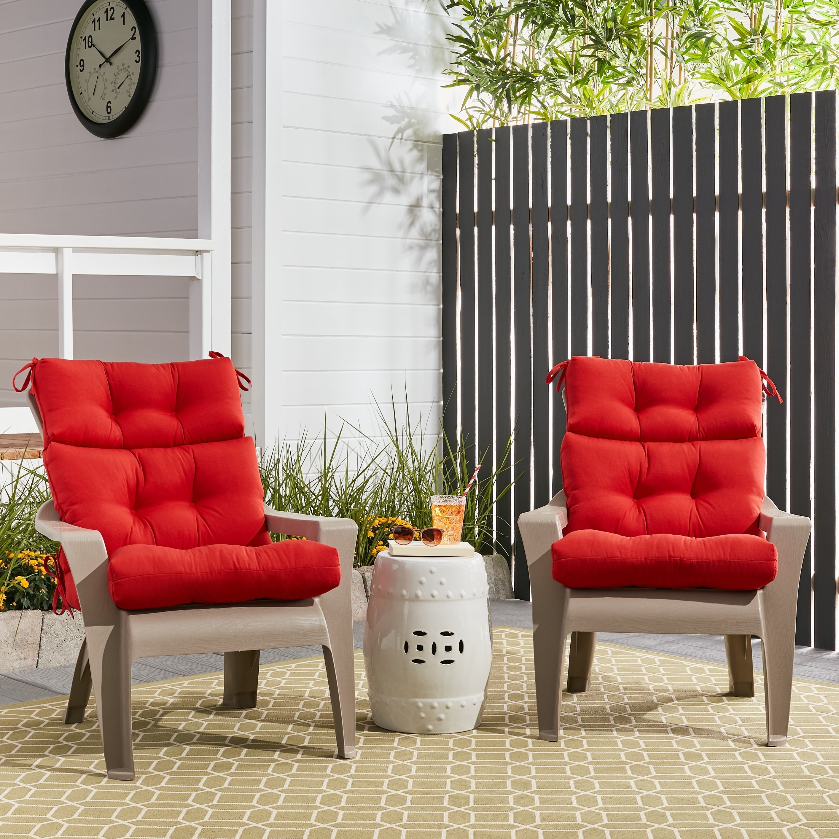Havenside Home Driftwood Outdoor All Weather High Back Chair Cushions Set Of 2