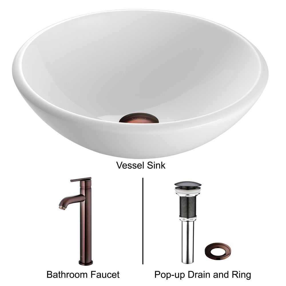 VIGO Elizabeth Phoenix Stone Vessel Bathroom Sink Set With Seville ...
