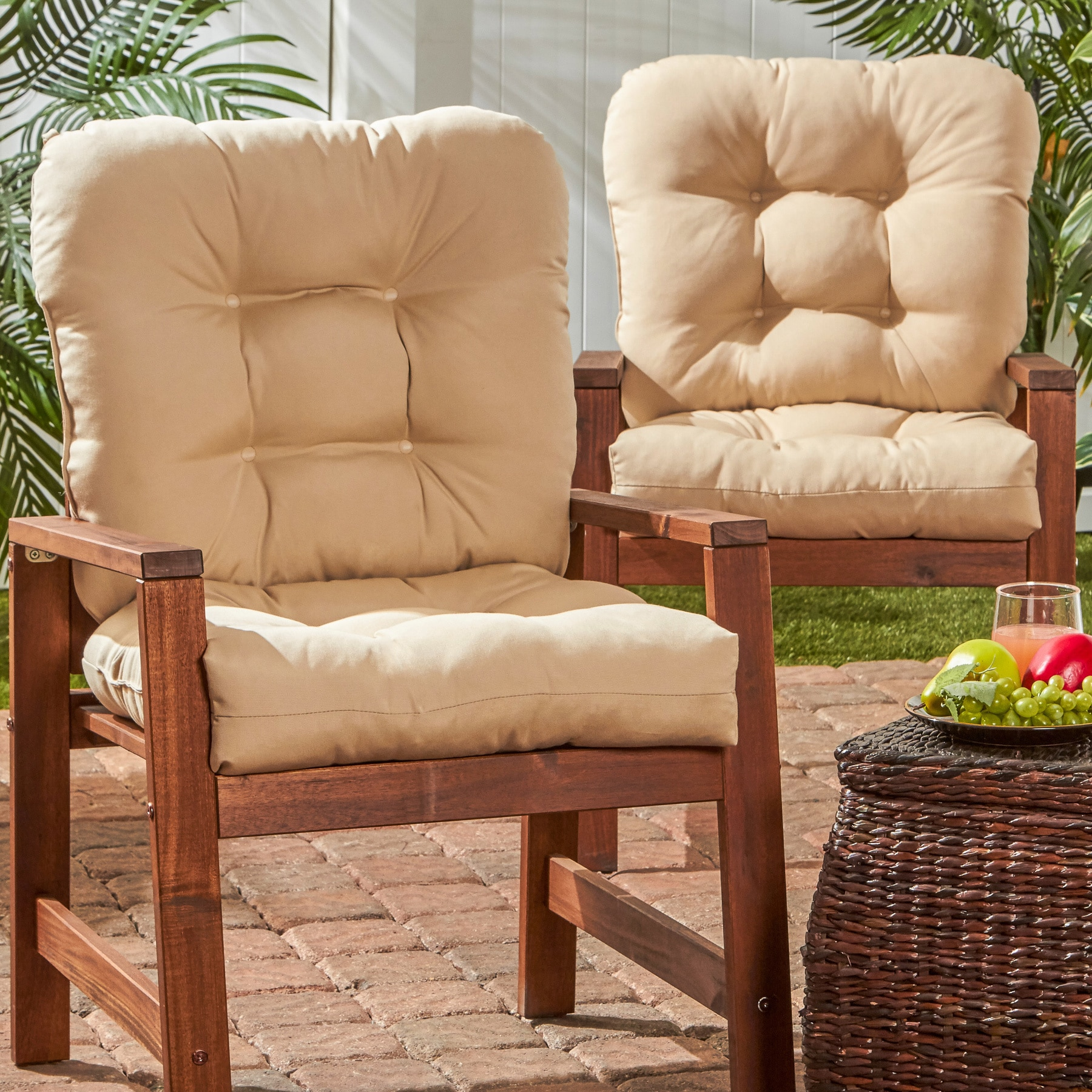 Outdoor Seat Back Chair Cushions Set of 2 Free Shipping Today