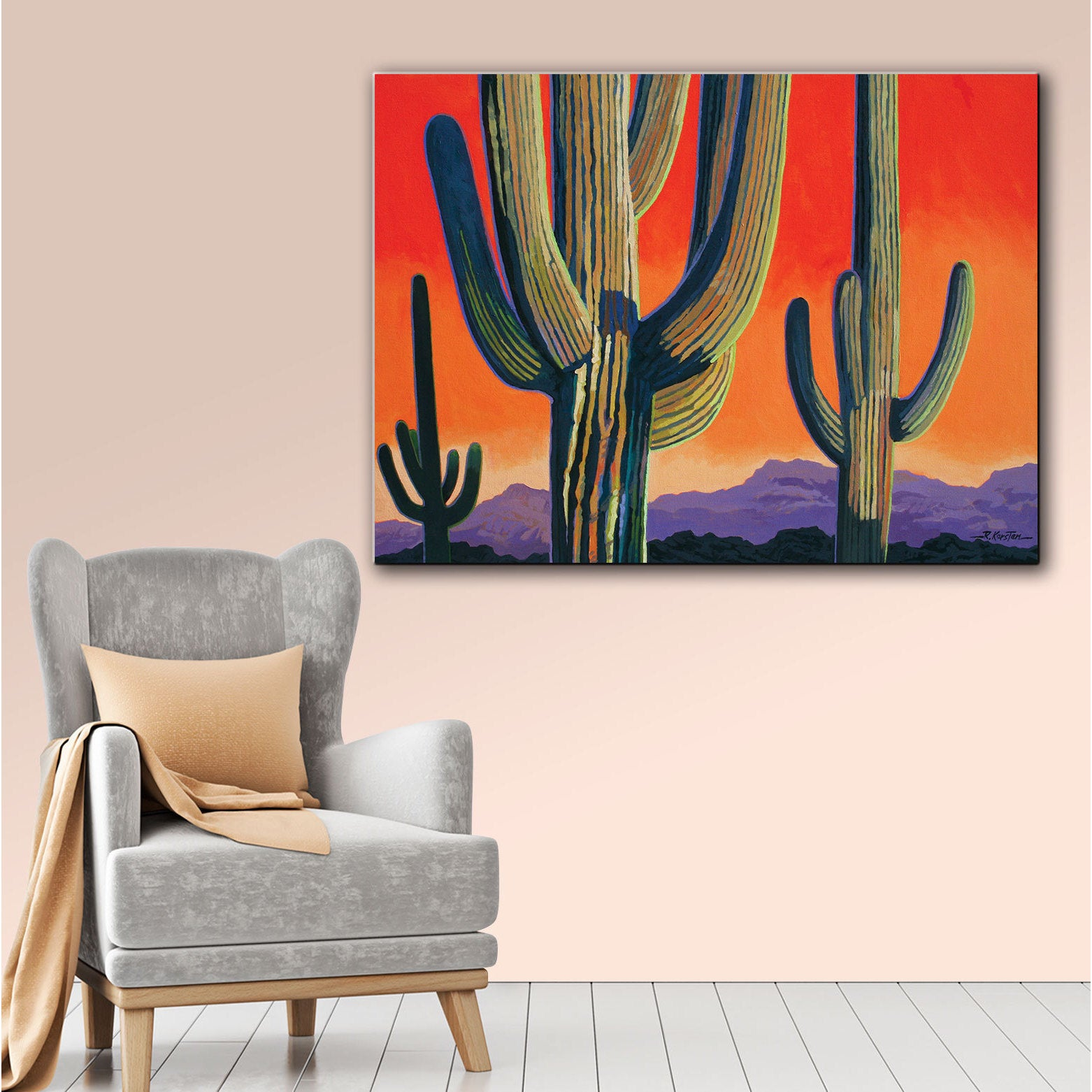 Shop Rick Kersten U0027Saguaro Dawnu0027 Gallery Wrapped Canvas   Free Shipping On  Orders Over $45   Overstock.com   7881490