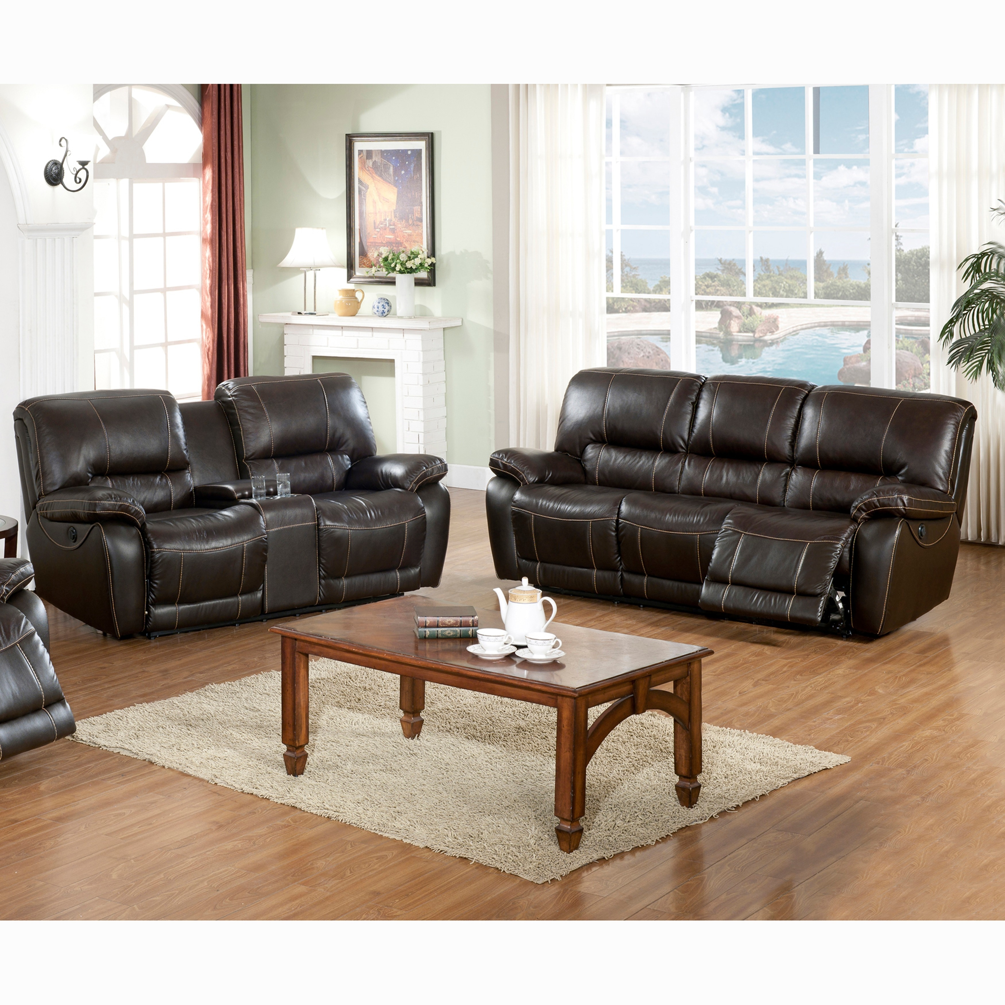 Walton Brown Top Grain Leather Power Reclining Sofa and Loveseat