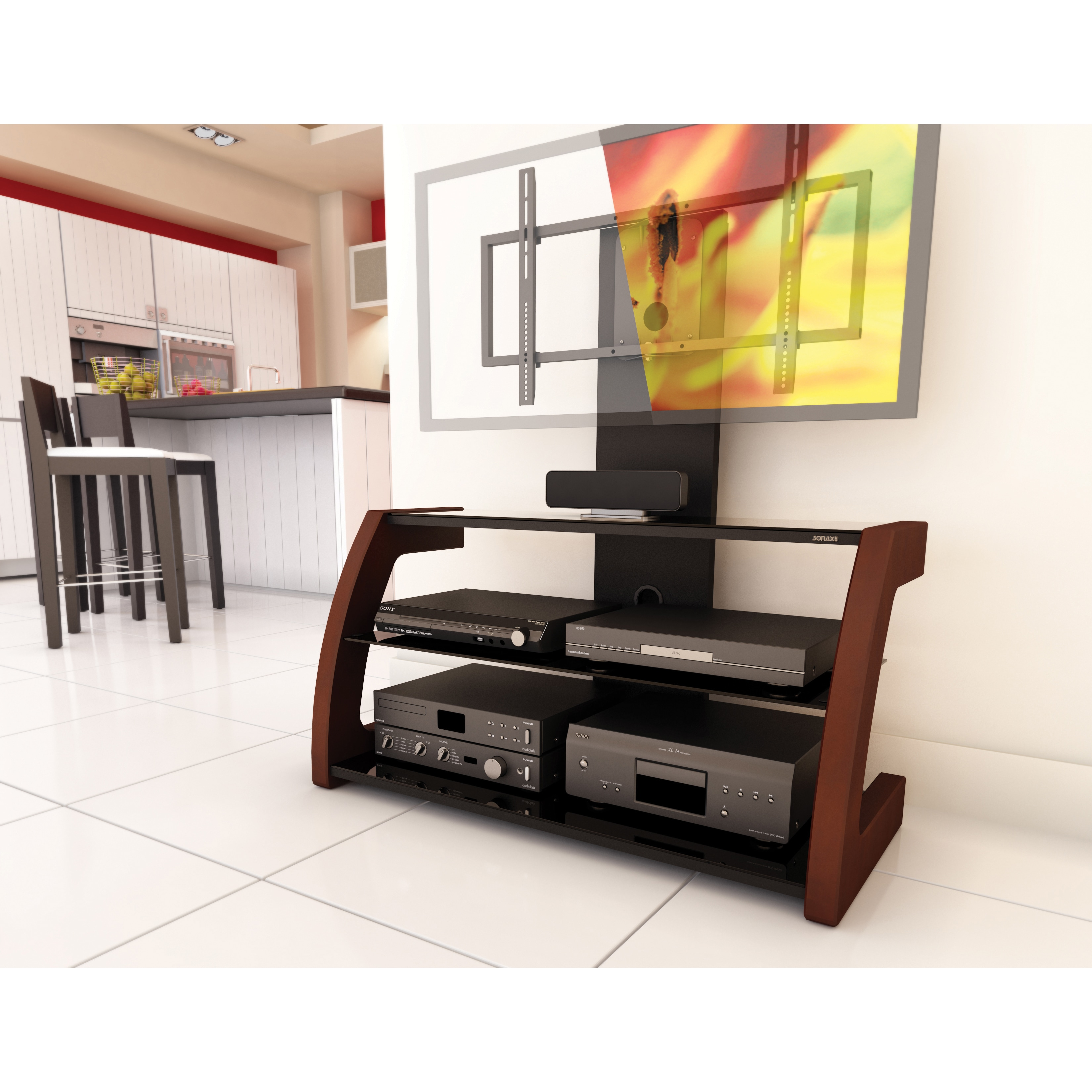 Sonax Milan Deep Espresso Hybrid Tv Stand With Solid Wood Uprights Free Shipping Today 7885968