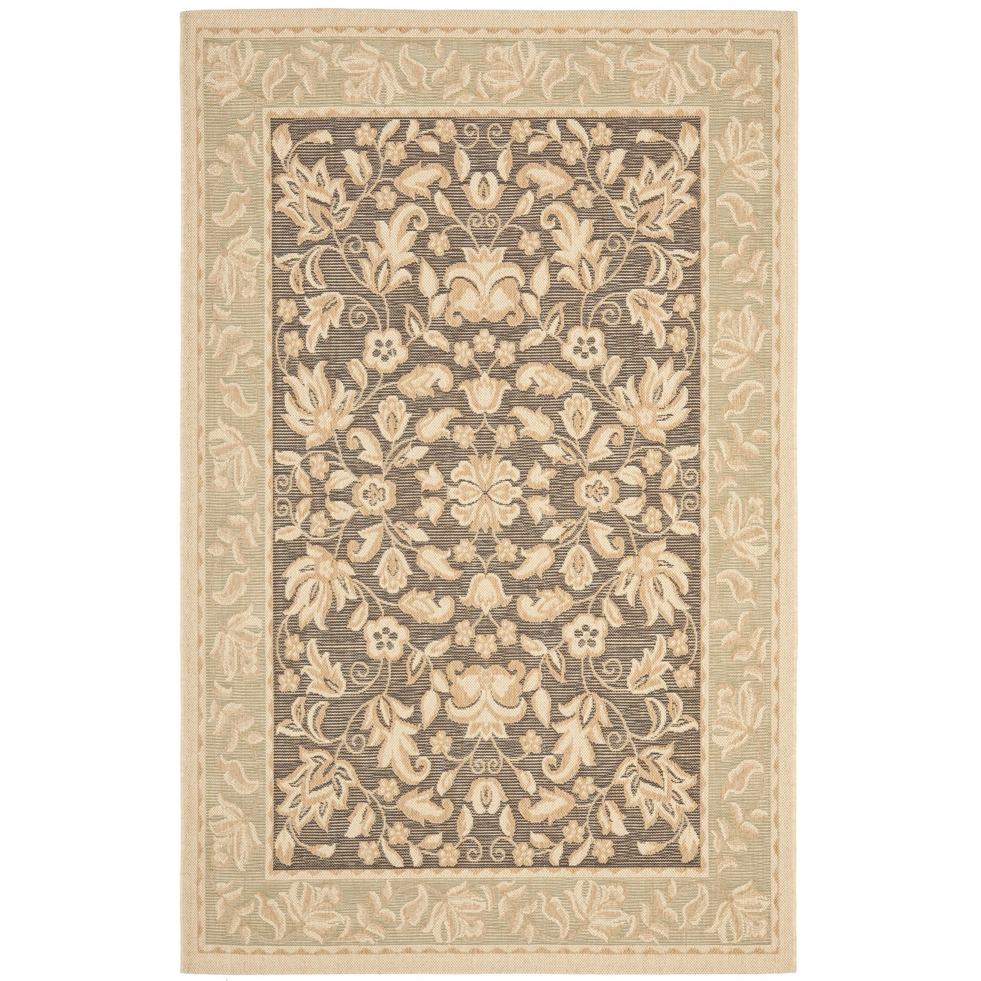 Shop Safavieh Beach House Indoor Outdoor Dark Brown Green Rug 4
