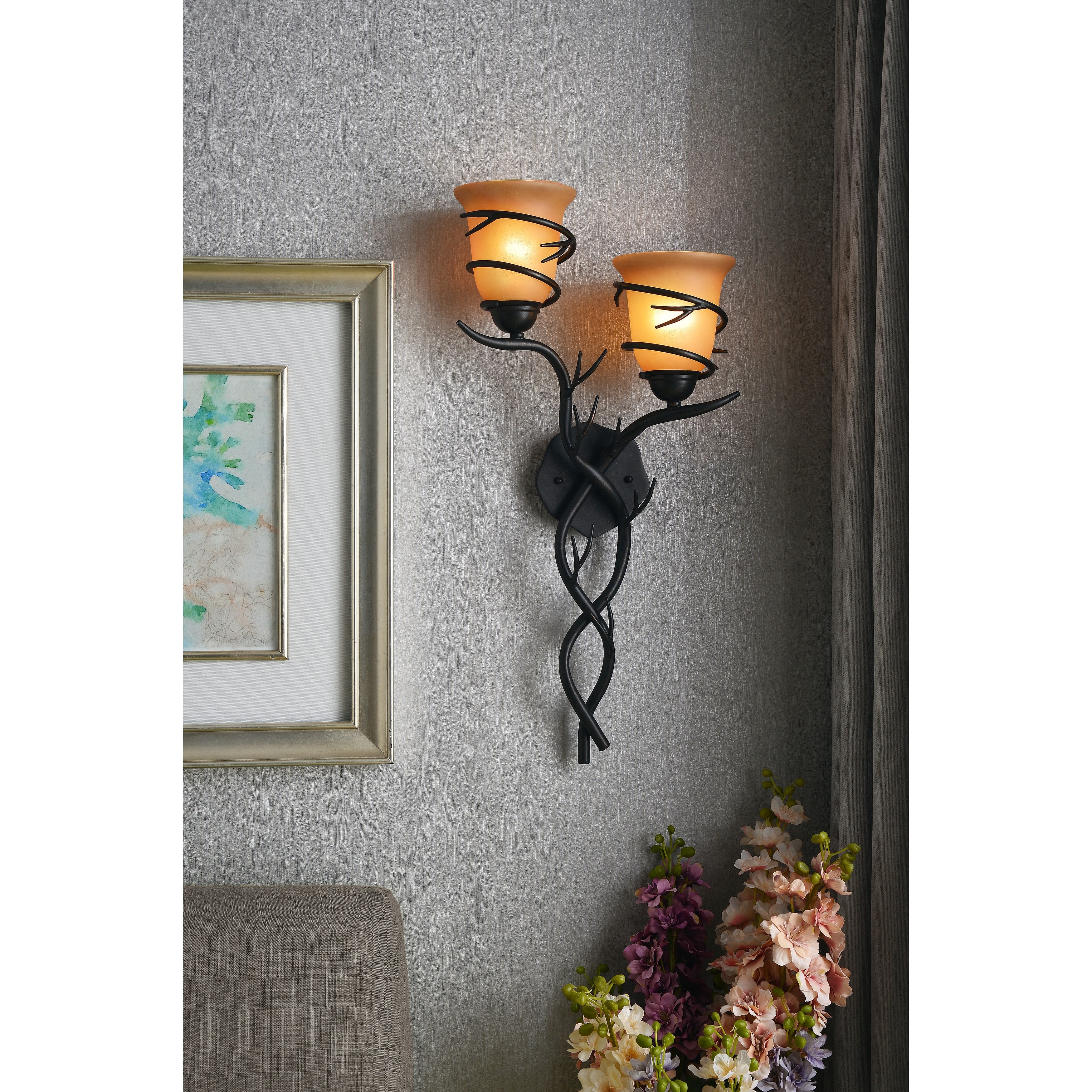 Shop Carbon Loft Edmund 2 Light Blackened Bronze Wall Sconce On