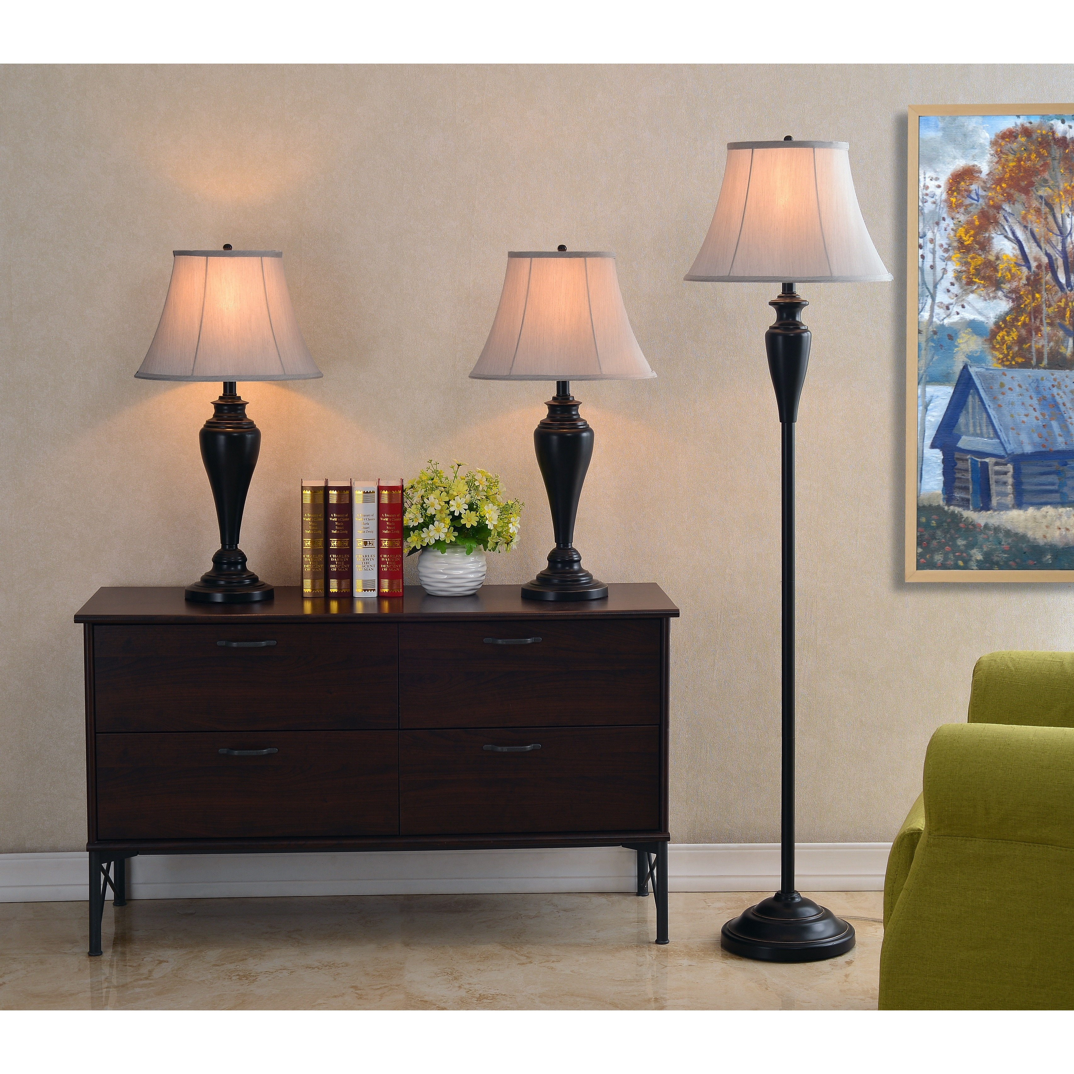 Gerald Oil Rubbed Bronze 3 Piece Lamp Set   Free Shipping Today    Overstock.com   15270354