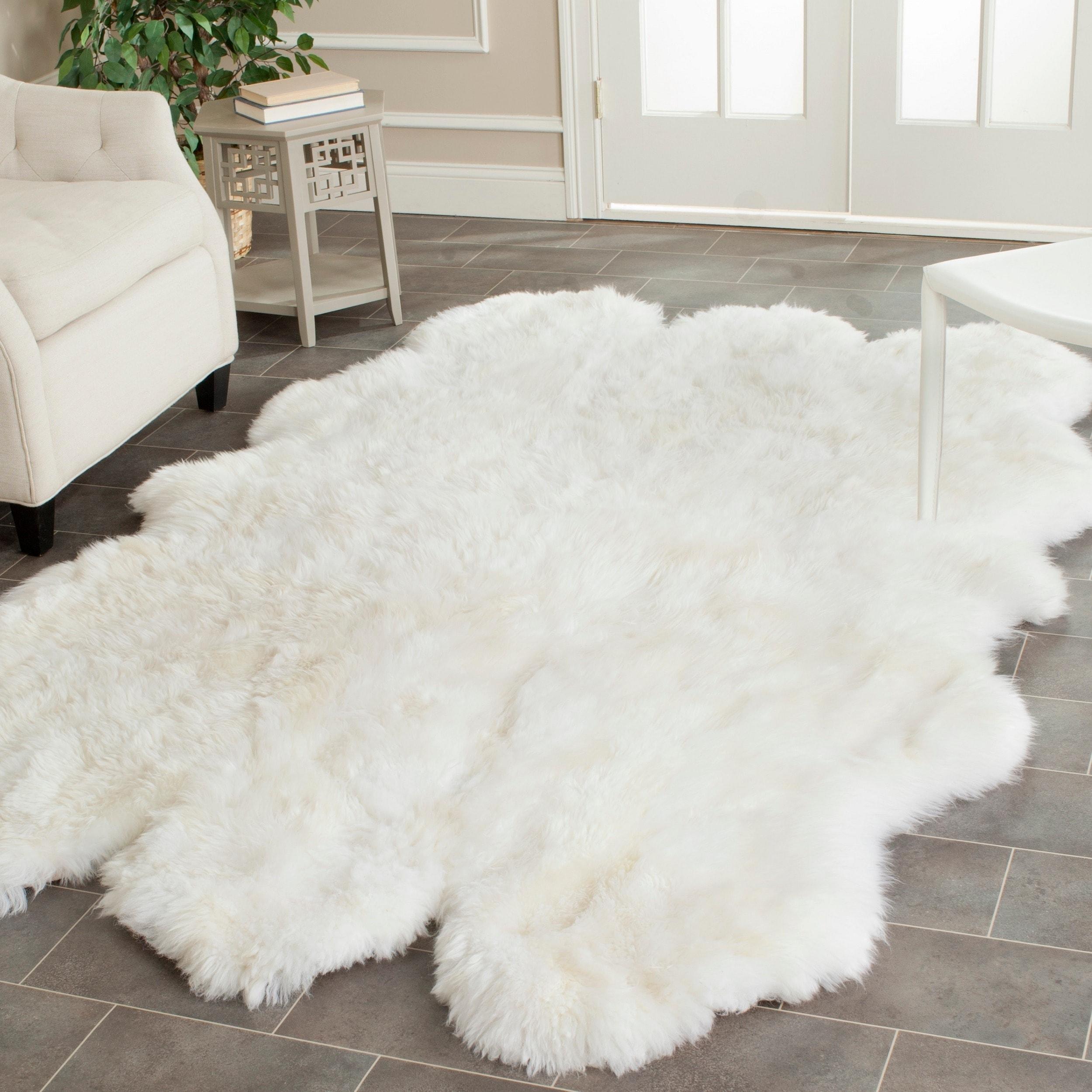Safavieh Hand woven Sheepskin Pelt White Shag Rug