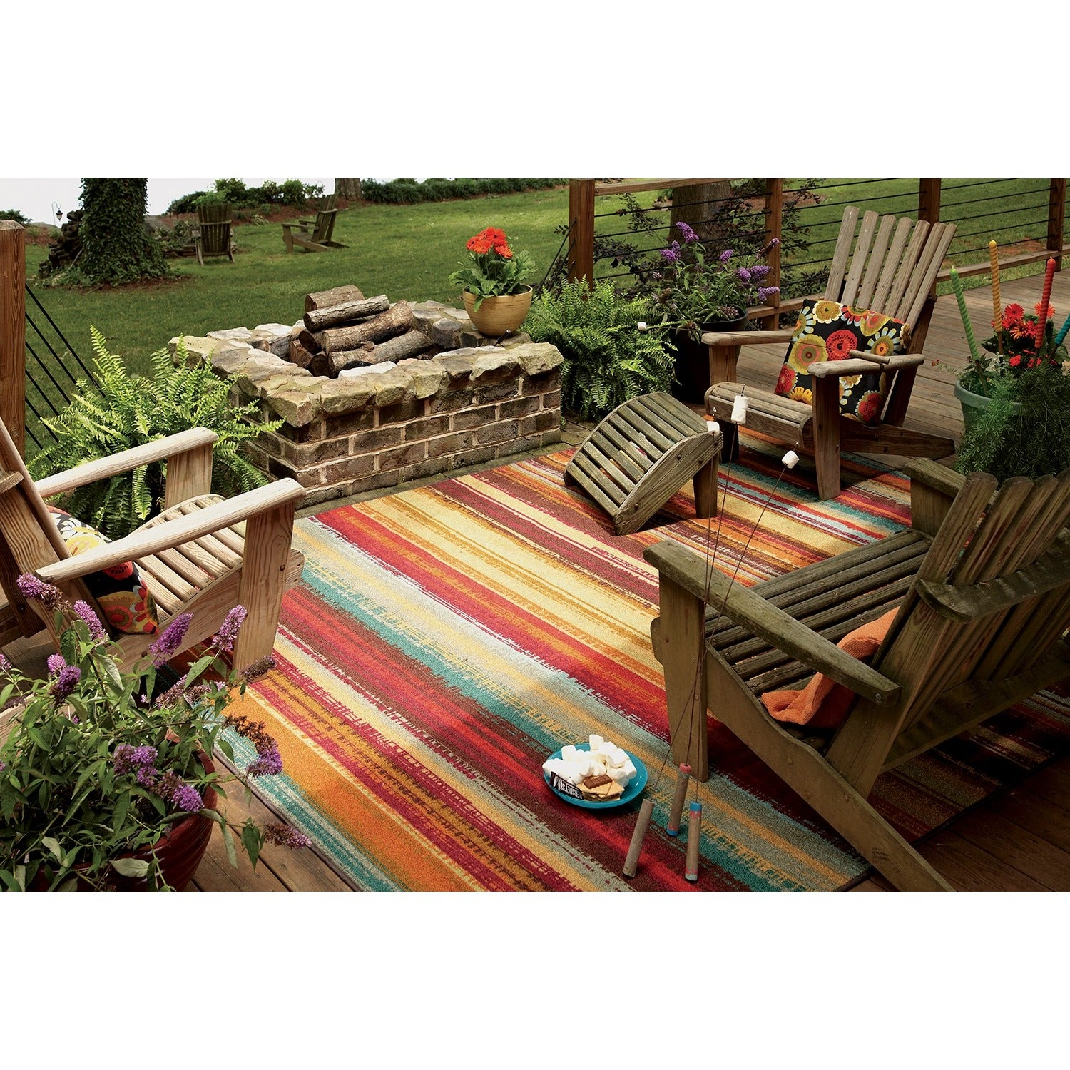 mohawk home printed outdoor multicolor rug (5' x 8') - free