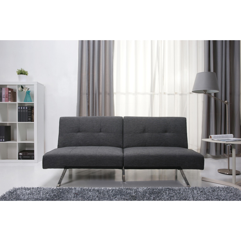 jacksonville gray fabric futon sleeper sofa bed - free shipping
