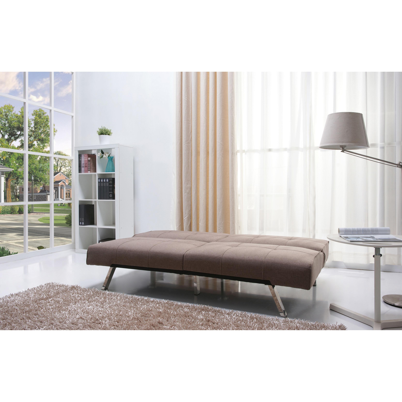 Jacksonville Mocha Fabric Futon Sofa Bed Free Shipping Today Com 7894627