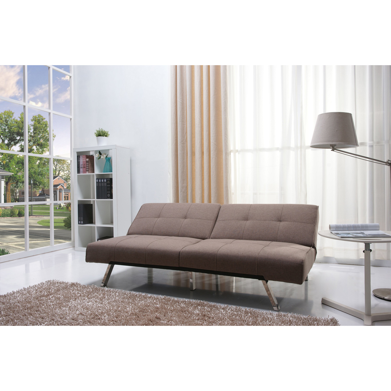Jacksonville Mocha Fabric Futon Sofa Bed Free Shipping Today 15275560