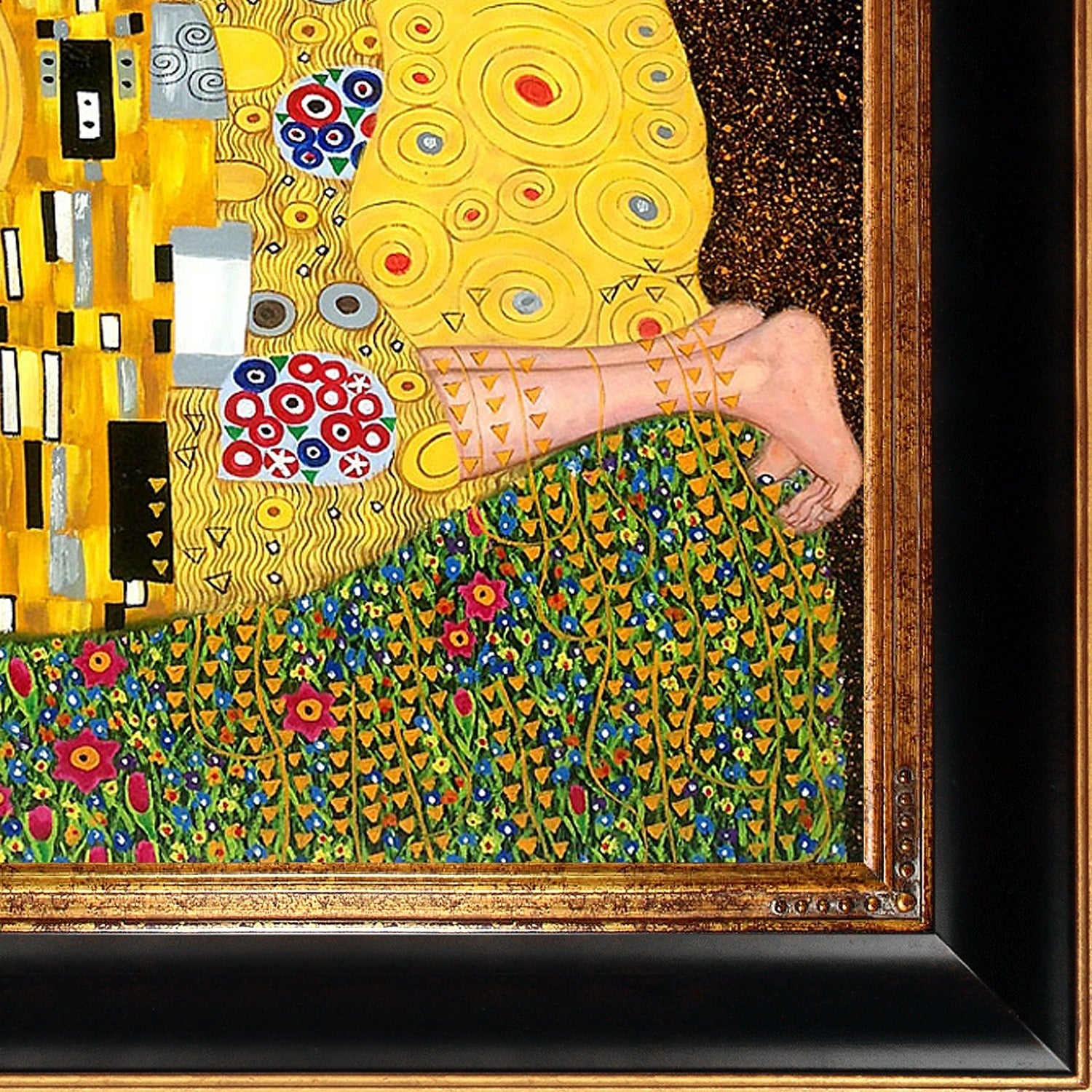Gustav Klimt \'The Kiss (Full View)\' Hand Painted Framed Canvas Art ...