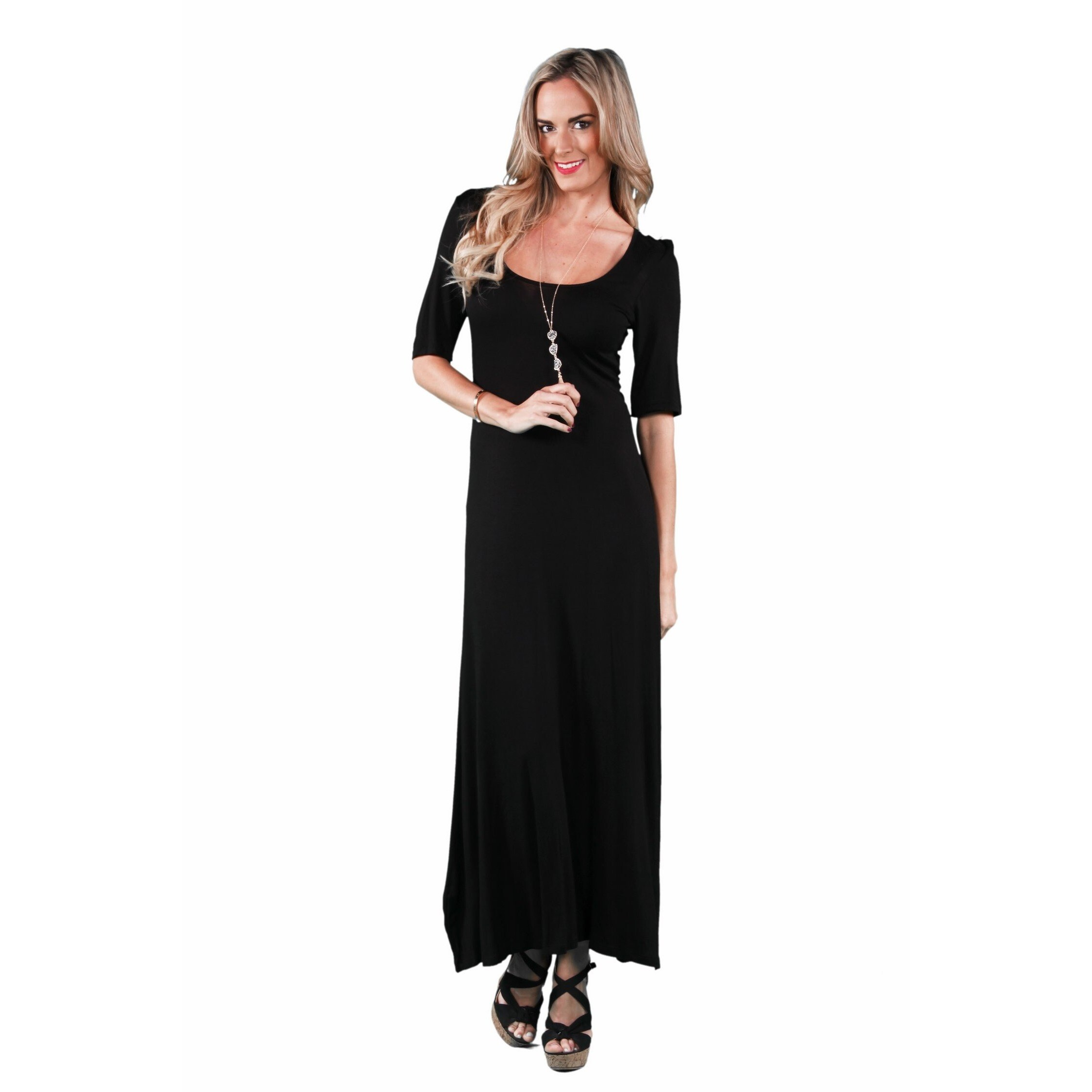 b72aec7172bbd Shop 24/7 Comfort Apparel Women's Elbow Sleeve Maxi Dress - On Sale ...