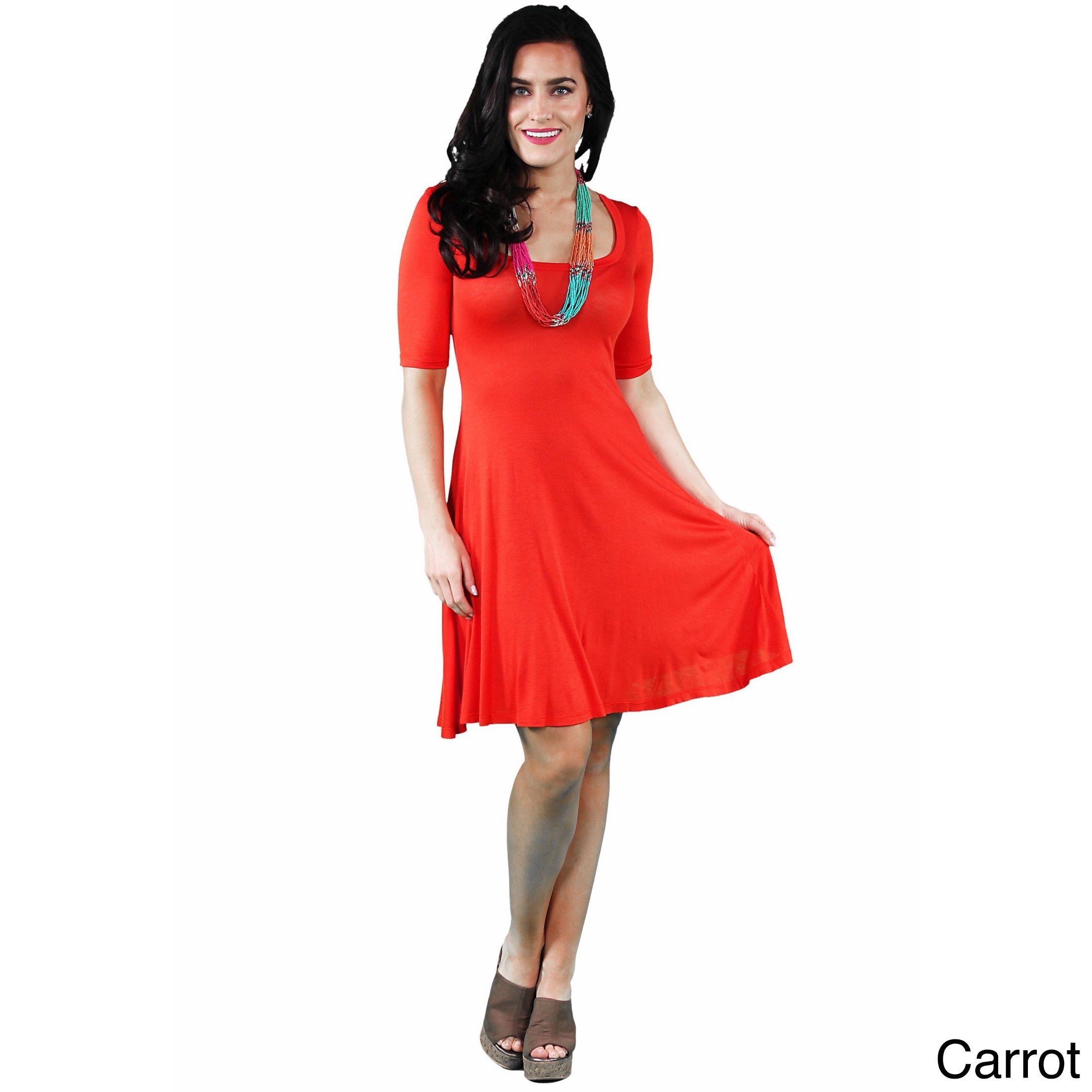 66a2463894 Shop 24 7 Comfort Apparel Women s Solid Knee-length Dress - On Sale ...