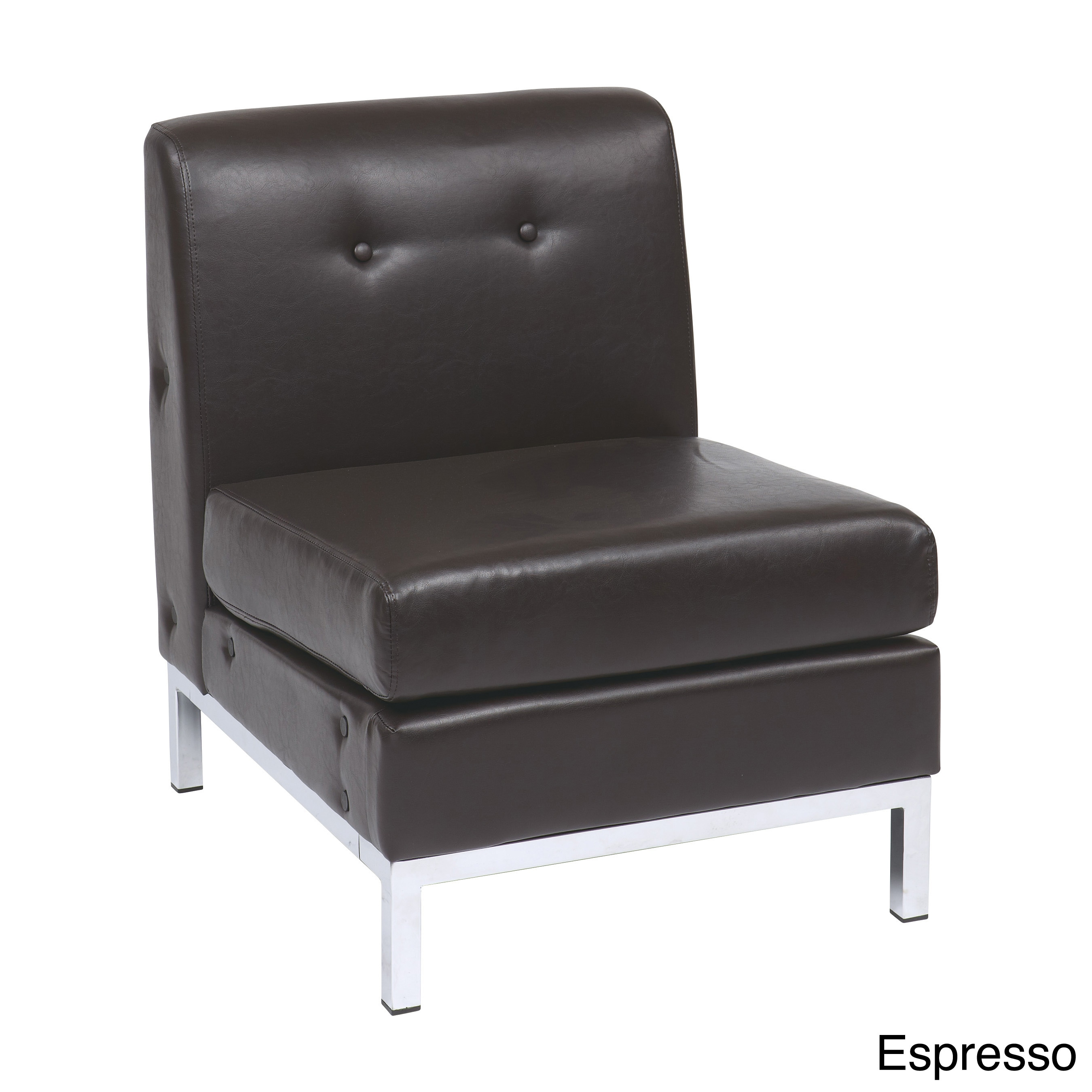 Shop Wall Street Faux Leather Armless Chair   N/A   On Sale   Free Shipping  Today   Overstock.com   7896981