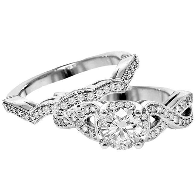 14k White Gold 2ct Tdw Diamond Braided Bridal Ring Set F G Si1 Si2 Free Shipping Today 7900394