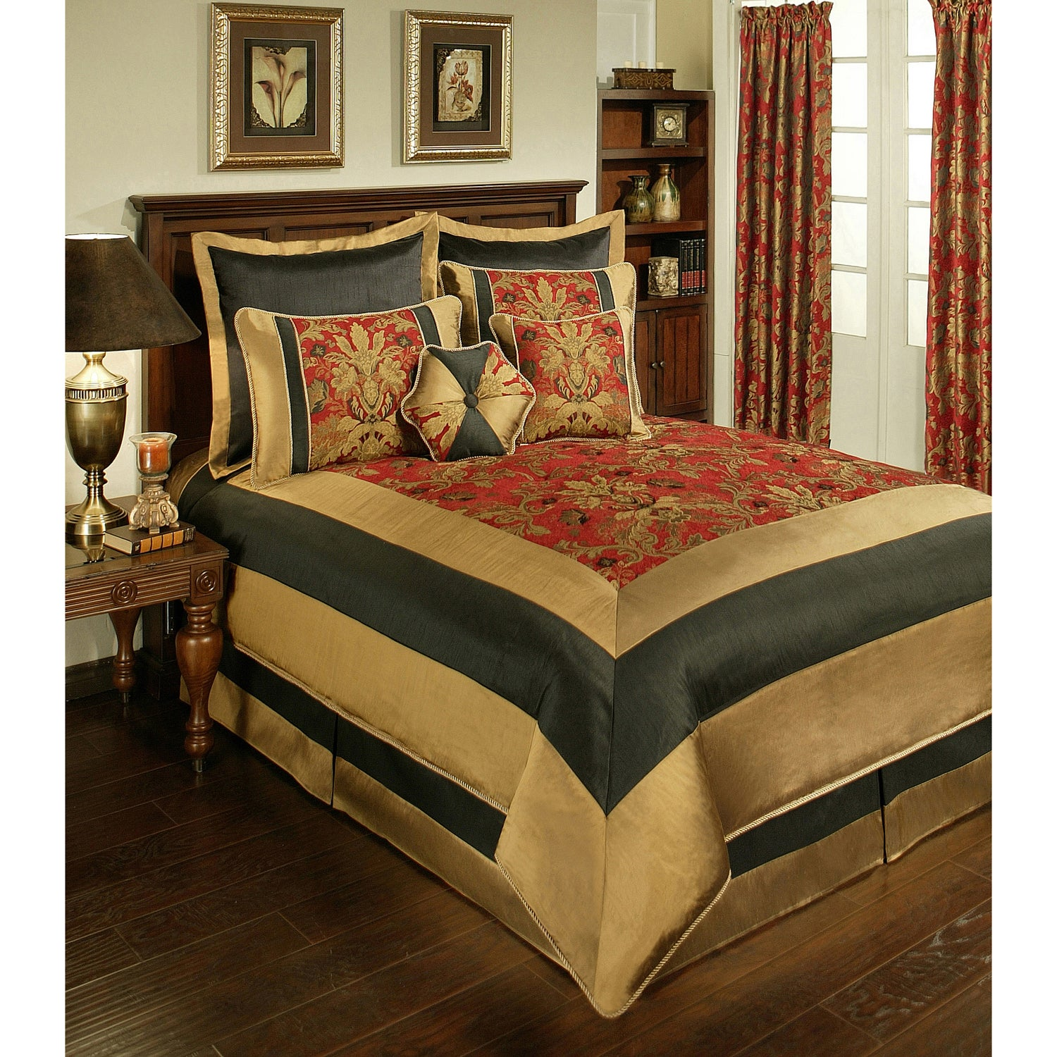 Sherry Kline Milano Red Black 8 Piece Comforter Set Overstock 7901085
