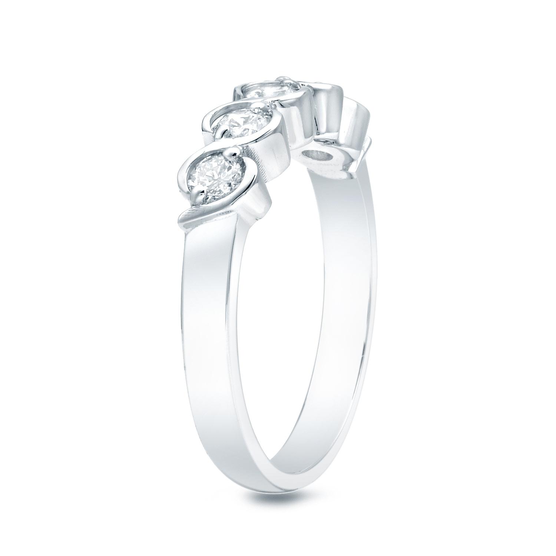 Auriya 14k Gold 1 2ct TDW Diamond S Swirl 5 Stone Anniversary Ring