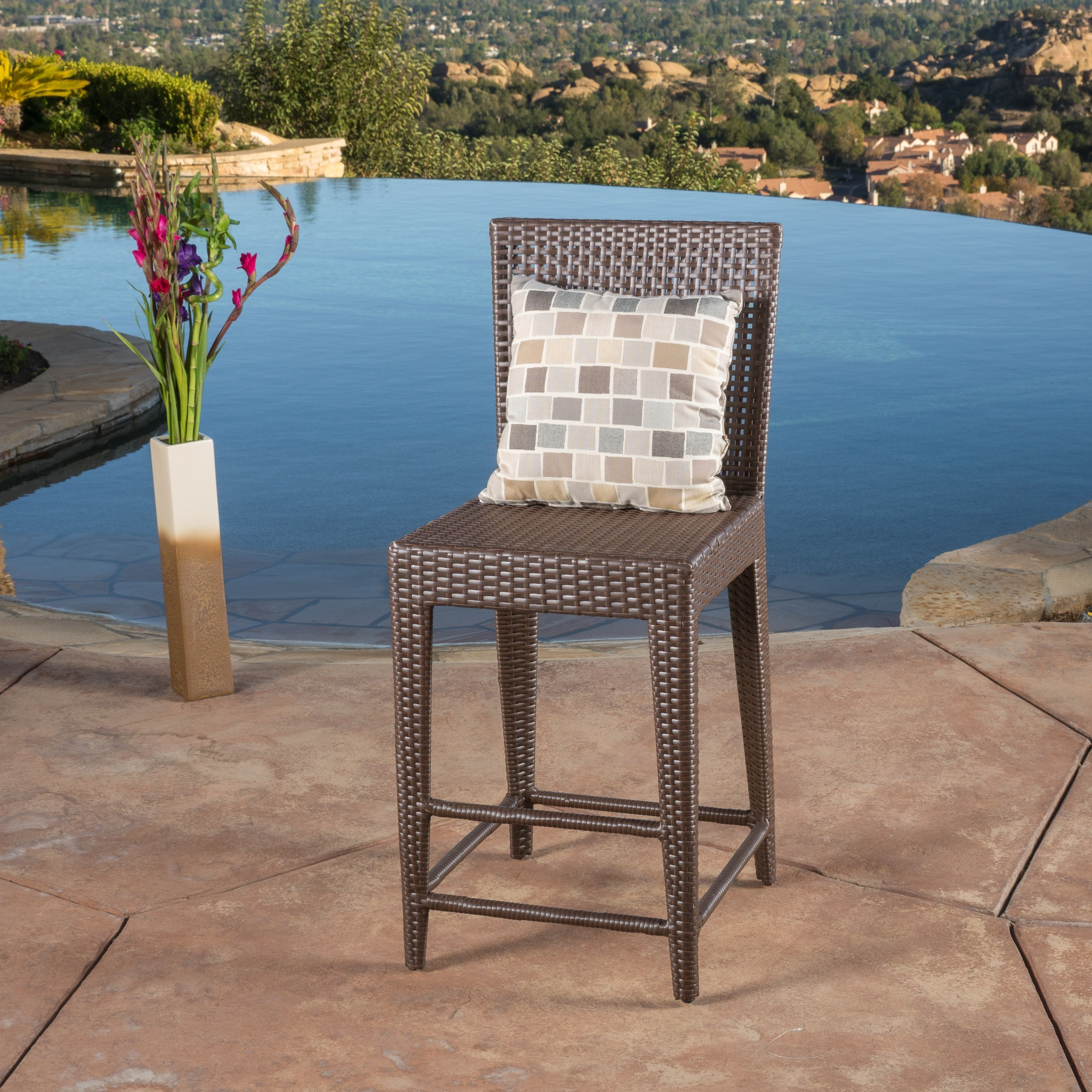 Shop Pacific Wicker Bar Stool by Christopher Knight Home - On Sale ...