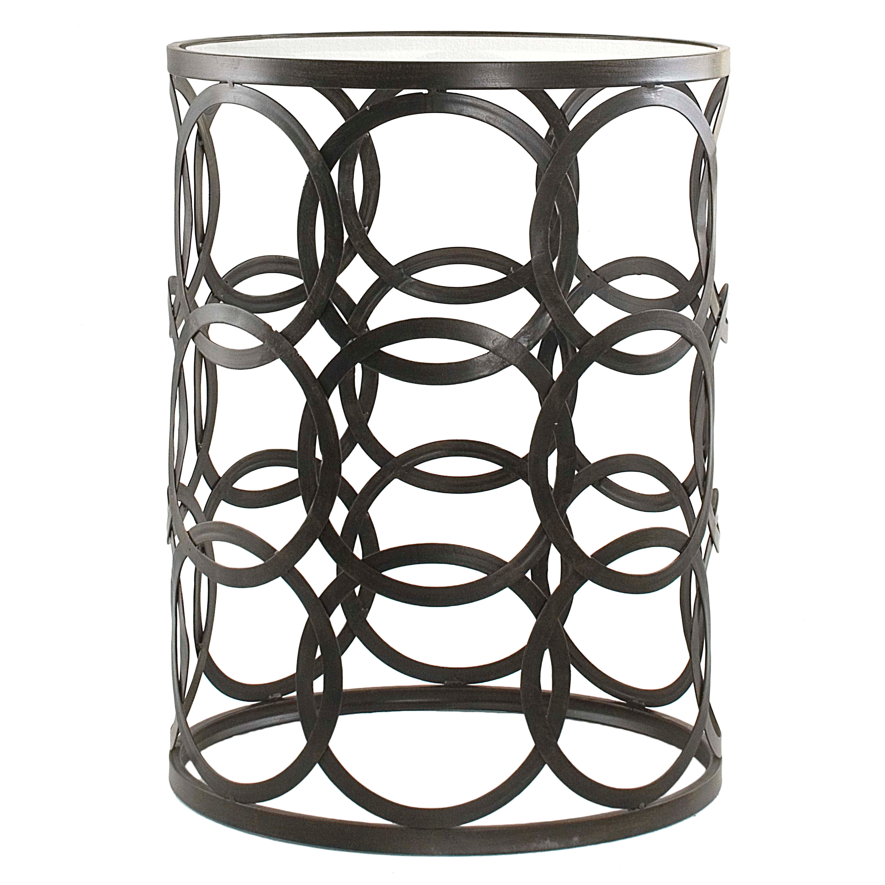 InnerSpace U0027Circlesu0027 Oil Rubbed Bronze Metal Barrel End Table   Free  Shipping Today   Overstock   15289397