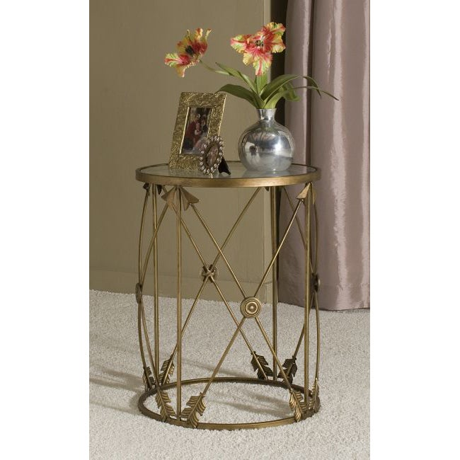 Marvelous U0027Arrowsu0027 Large Metal Barrel End Table   Free Shipping Today   Overstock    15289398