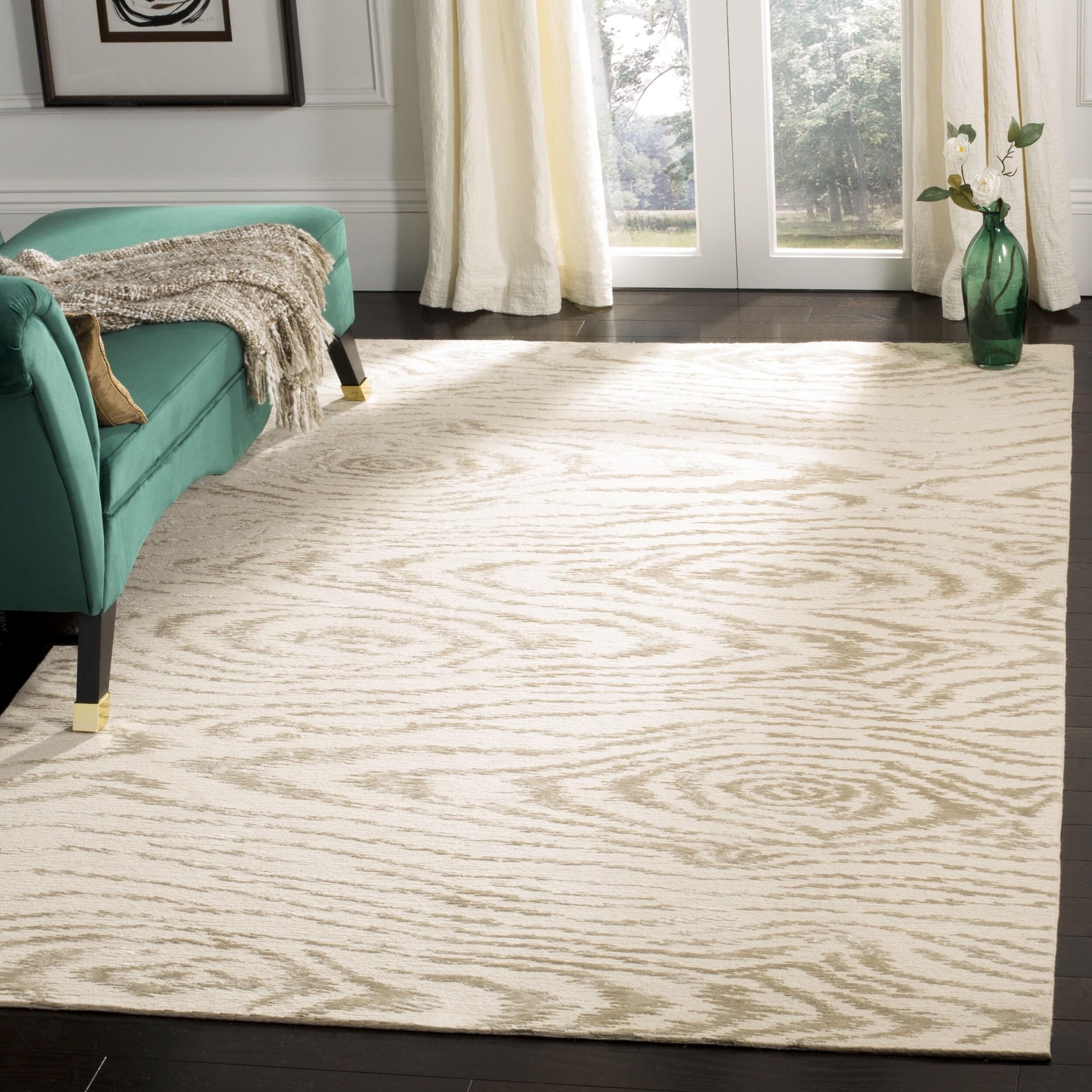 Shop Martha Stewart by Safavieh Faux Bois White Birch Silk/ Wool Rug ...