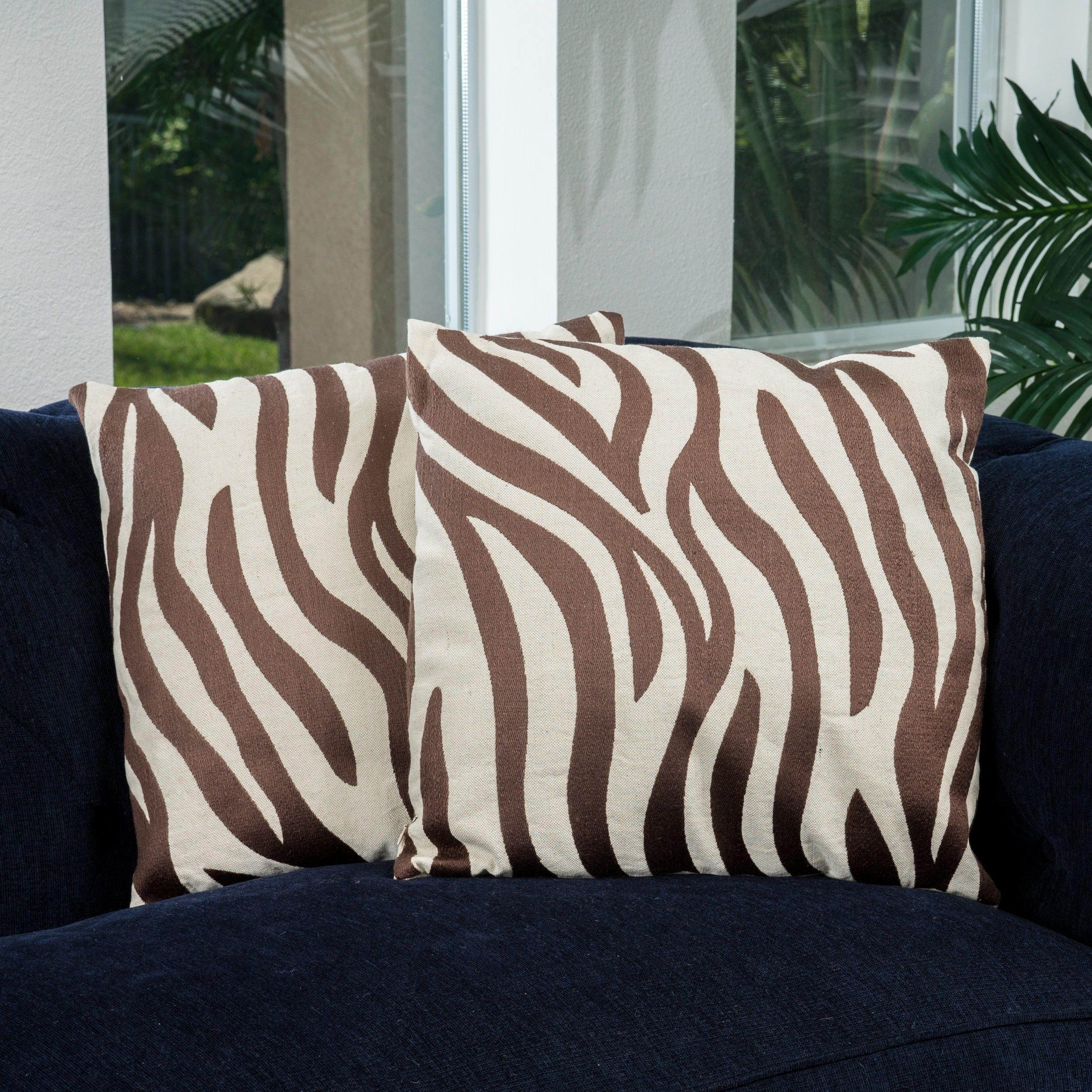 18 Inch Tan Zebra Pillows Set Of 2 By Christopher Knight Home Free Shipping Today 7912657