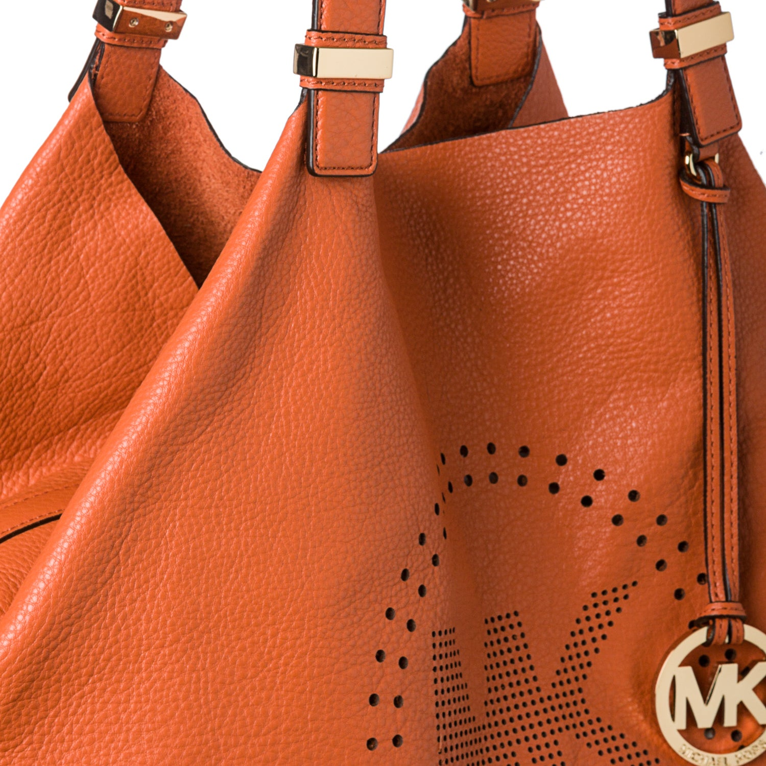 5a7d2ef0f5fb Shop MICHAEL Michael Kors XL Tangerine Leather Perforated Logo Grab Bag -  Free Shipping Today - Overstock - 7912947