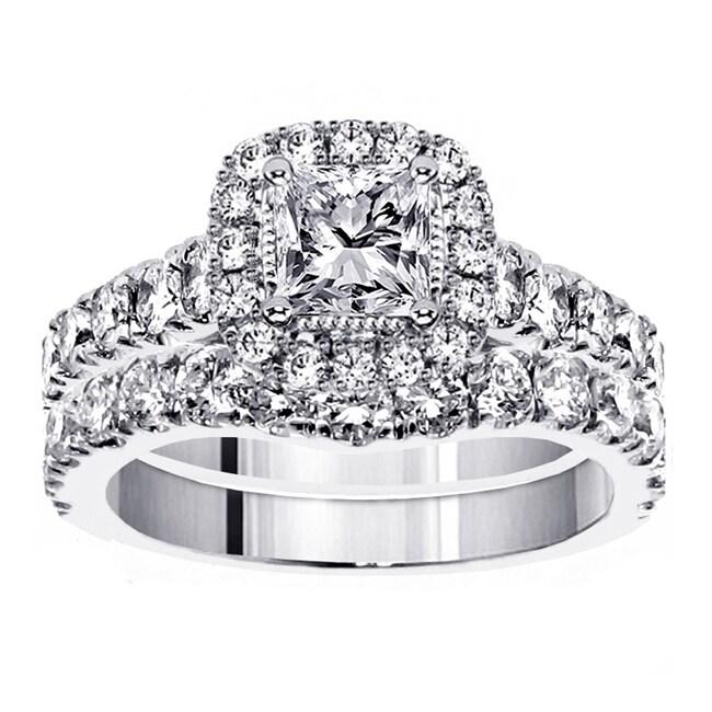 White Gold 3ct TDW Princess Diamond Bridal Ring Set Free