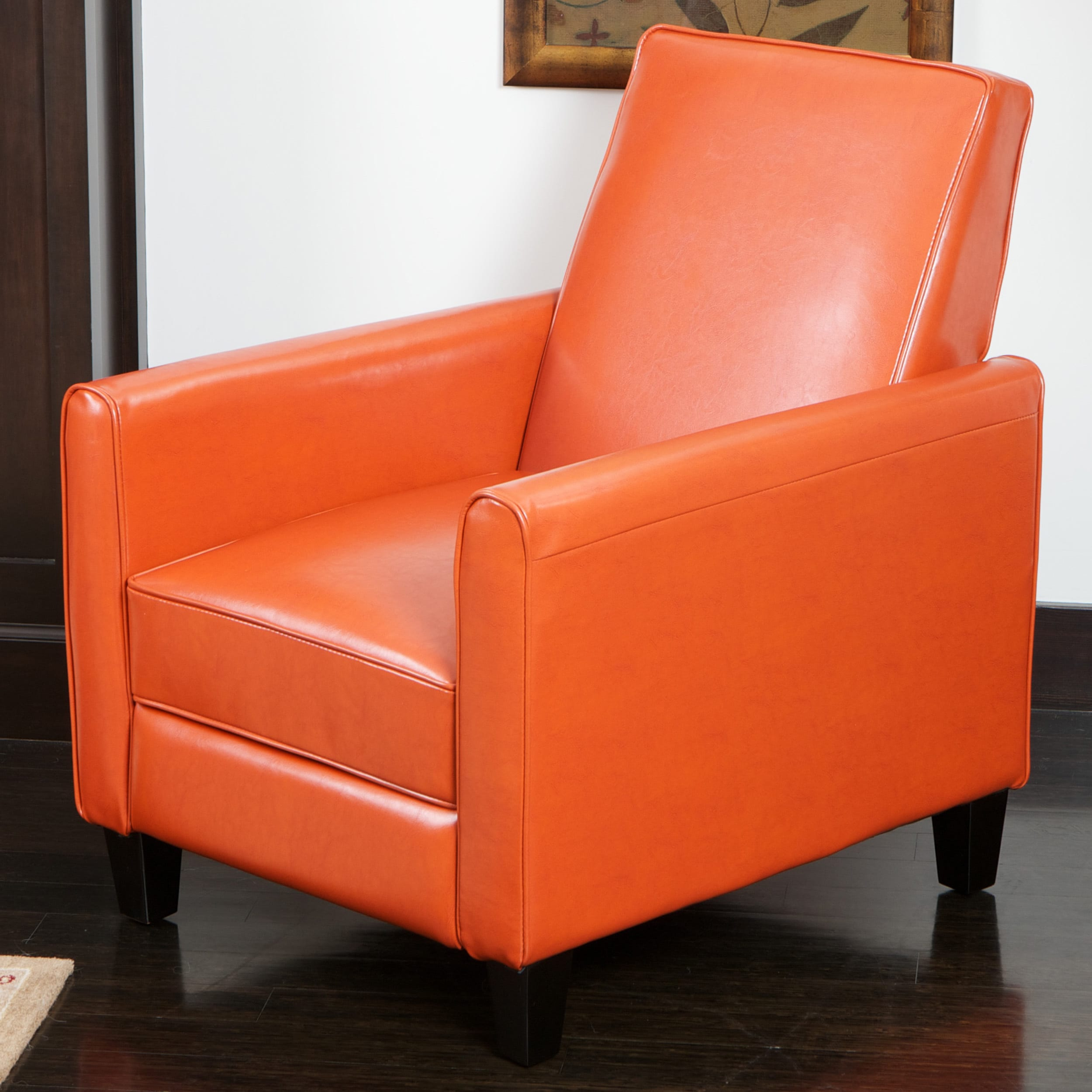 Charmant Shop Darvis Orange Bonded Leather Recliner Club Chair By Christopher Knight  Home   Free Shipping Today   Overstock.com   7915123