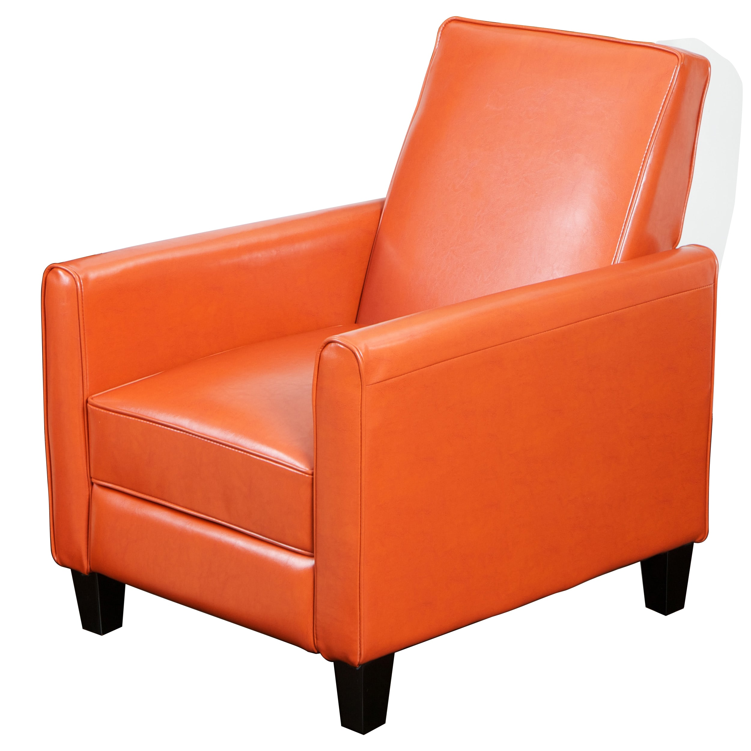 darvis orange bonded leather recliner club chair by christopher knight home free shipping today  overstockcom  . darvis orange bonded leather recliner club chair by christopher