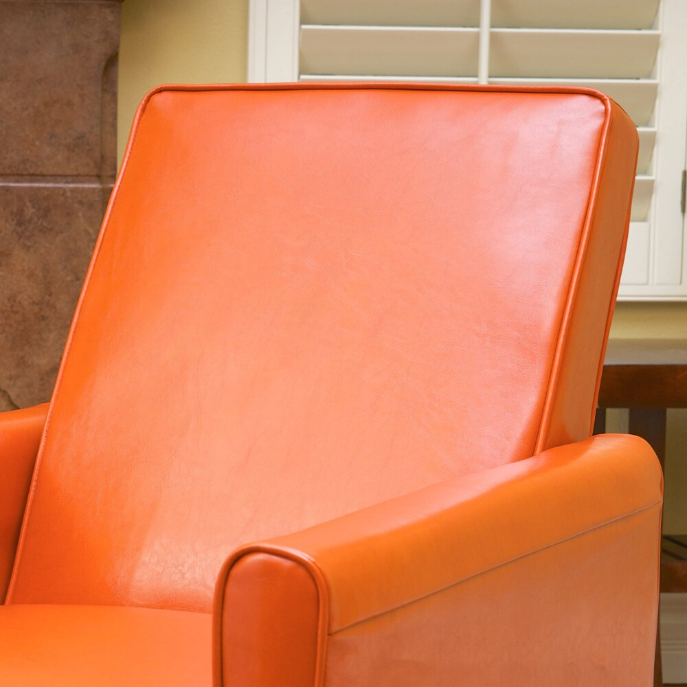 Shop Darvis Orange Bonded Leather Recliner Club Chair By Christopher Knight  Home   Free Shipping Today   Overstock.com   7915123